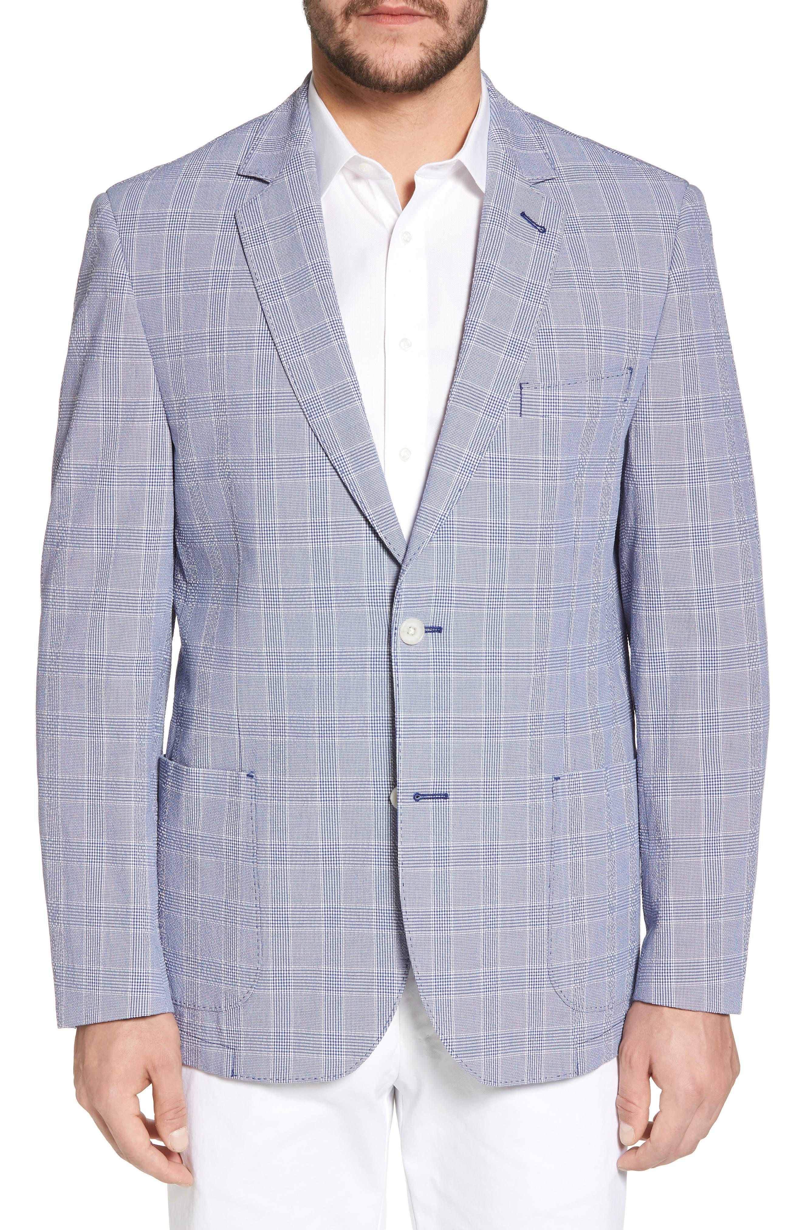 Classic Fit Glen Plaid Seersucker Sport Coat,                         Main,                         color, Blue