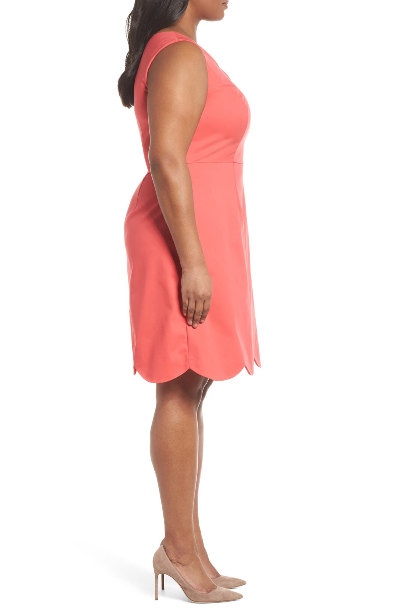Scalloped A-Line Dress,                             Alternate thumbnail 3, color,                             Strawberry Pink