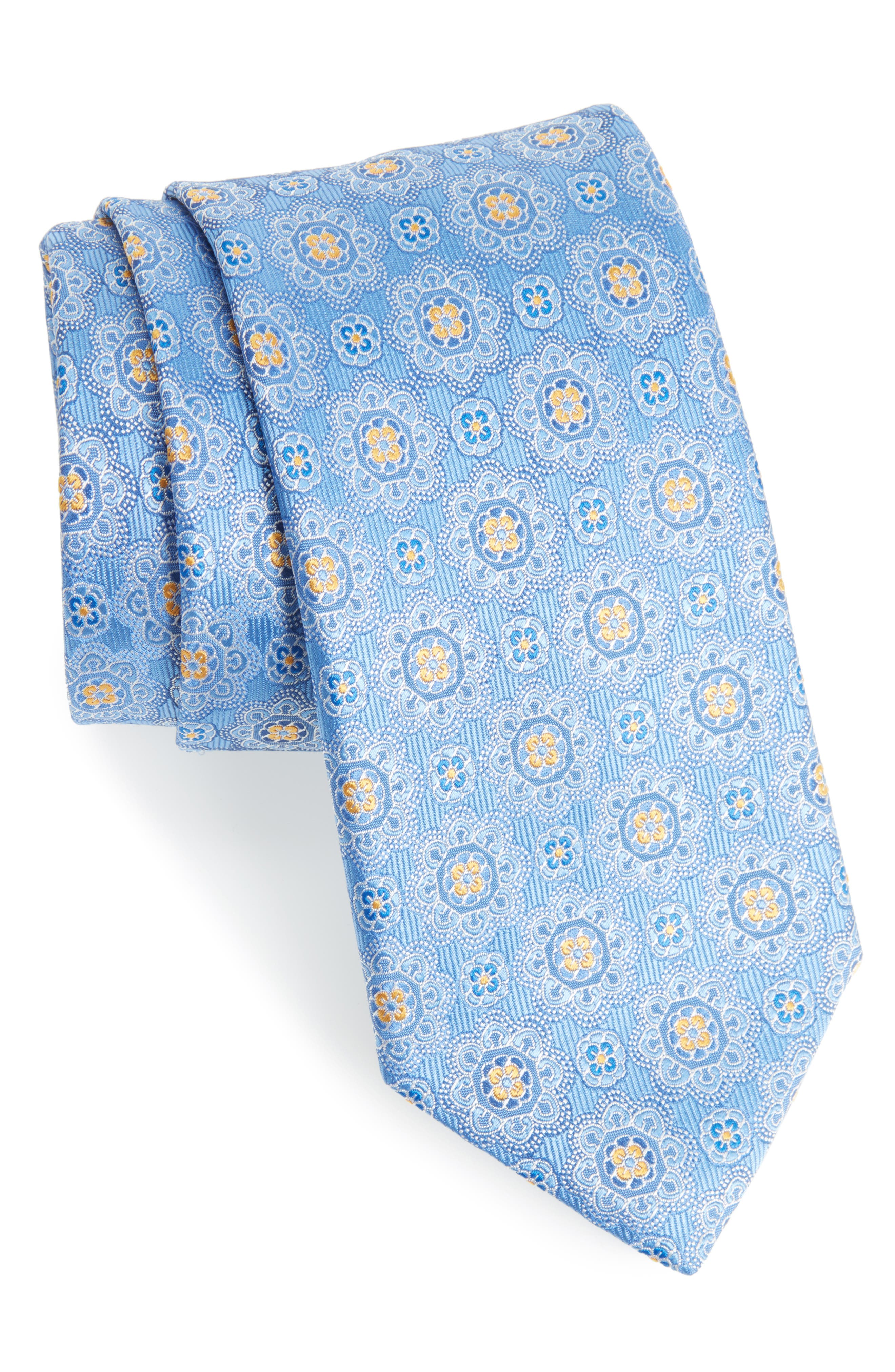 Medallion Silk Tie,                             Main thumbnail 1, color,                             Yellow/ Blue