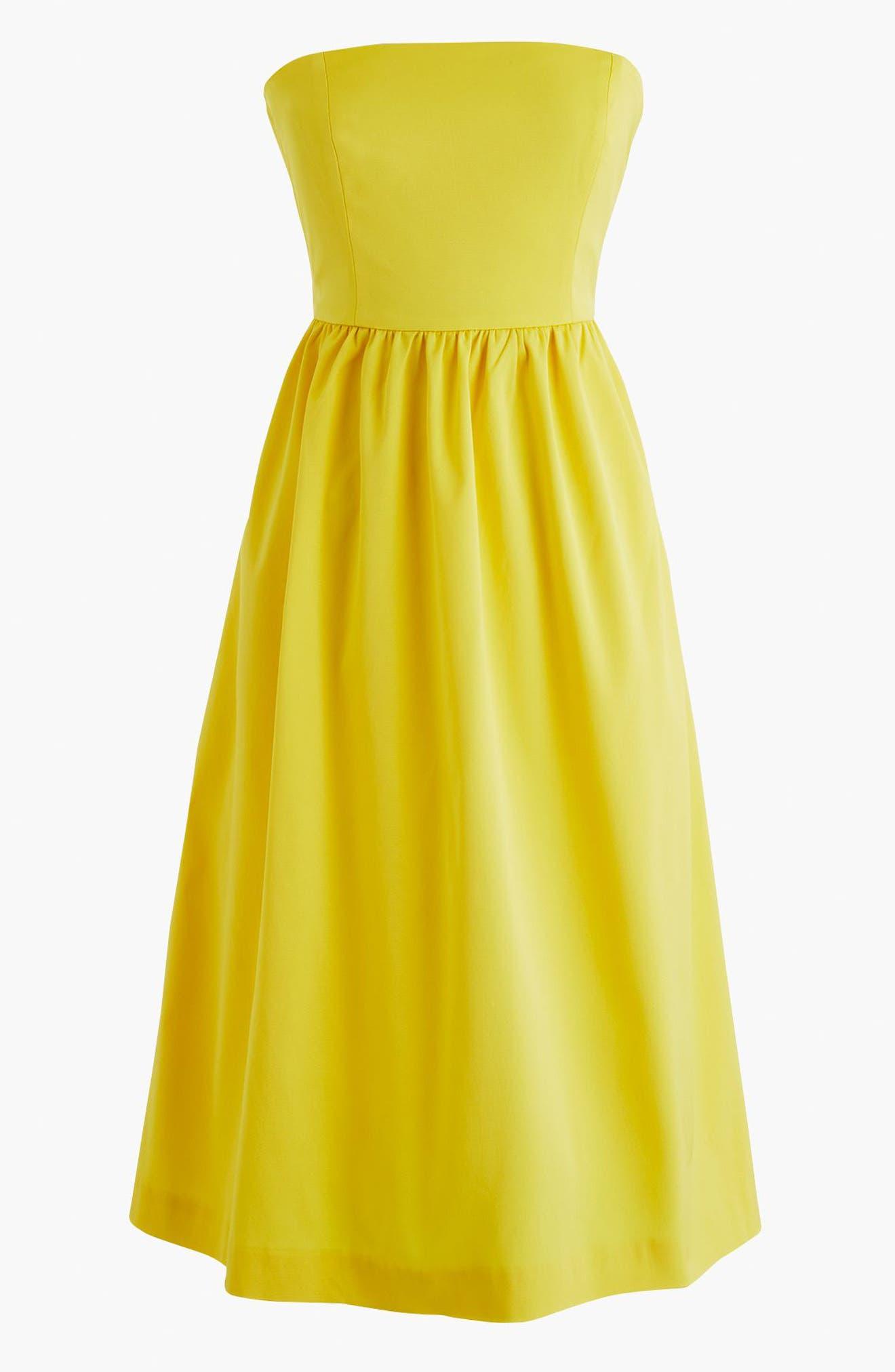 J.Crew Strapless Fit & Flare Dress,                             Alternate thumbnail 4, color,                             Bright Lemon