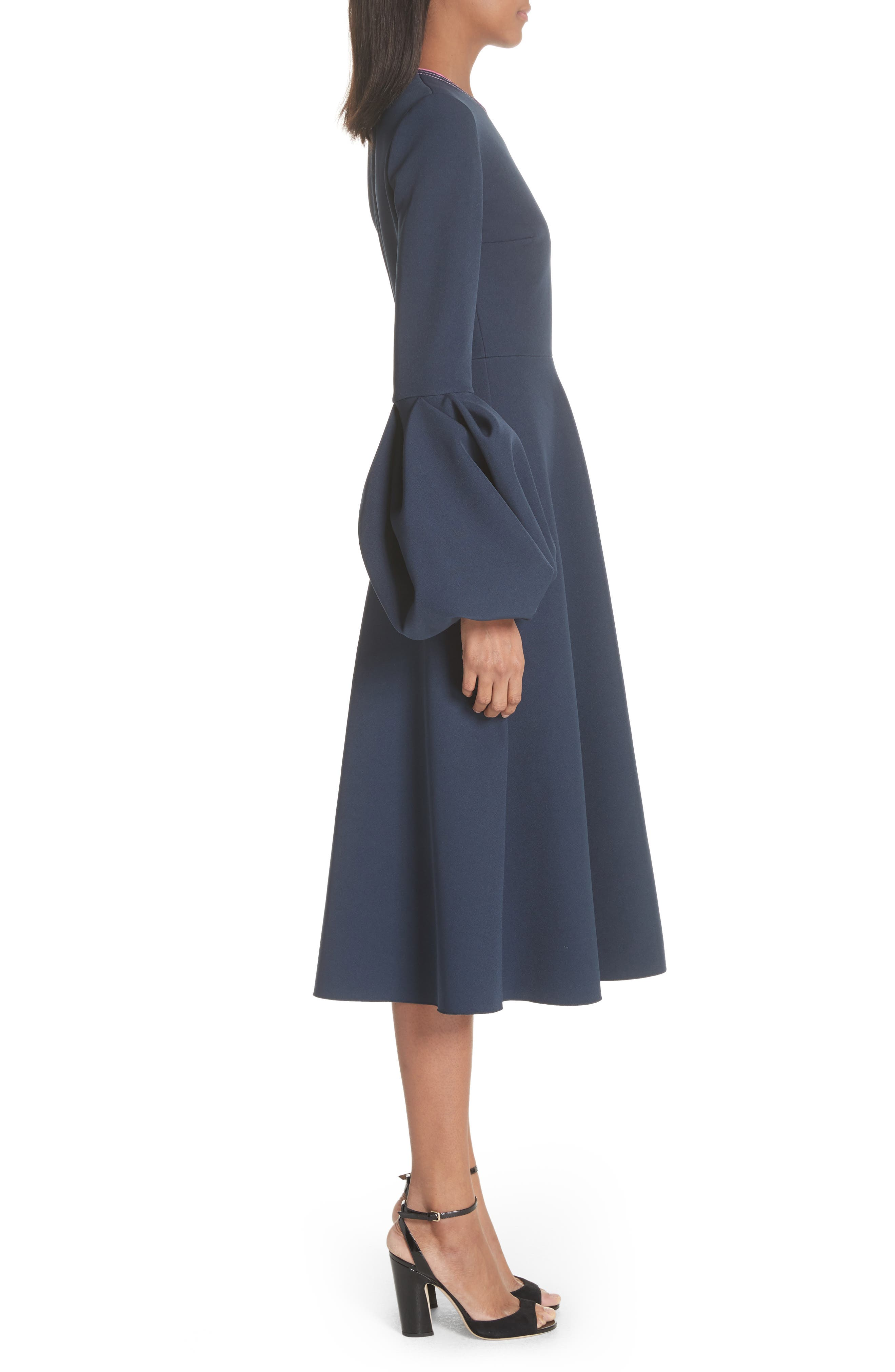 Aylin Bell Sleeve Dress,                             Alternate thumbnail 3, color,                             Squid Ink