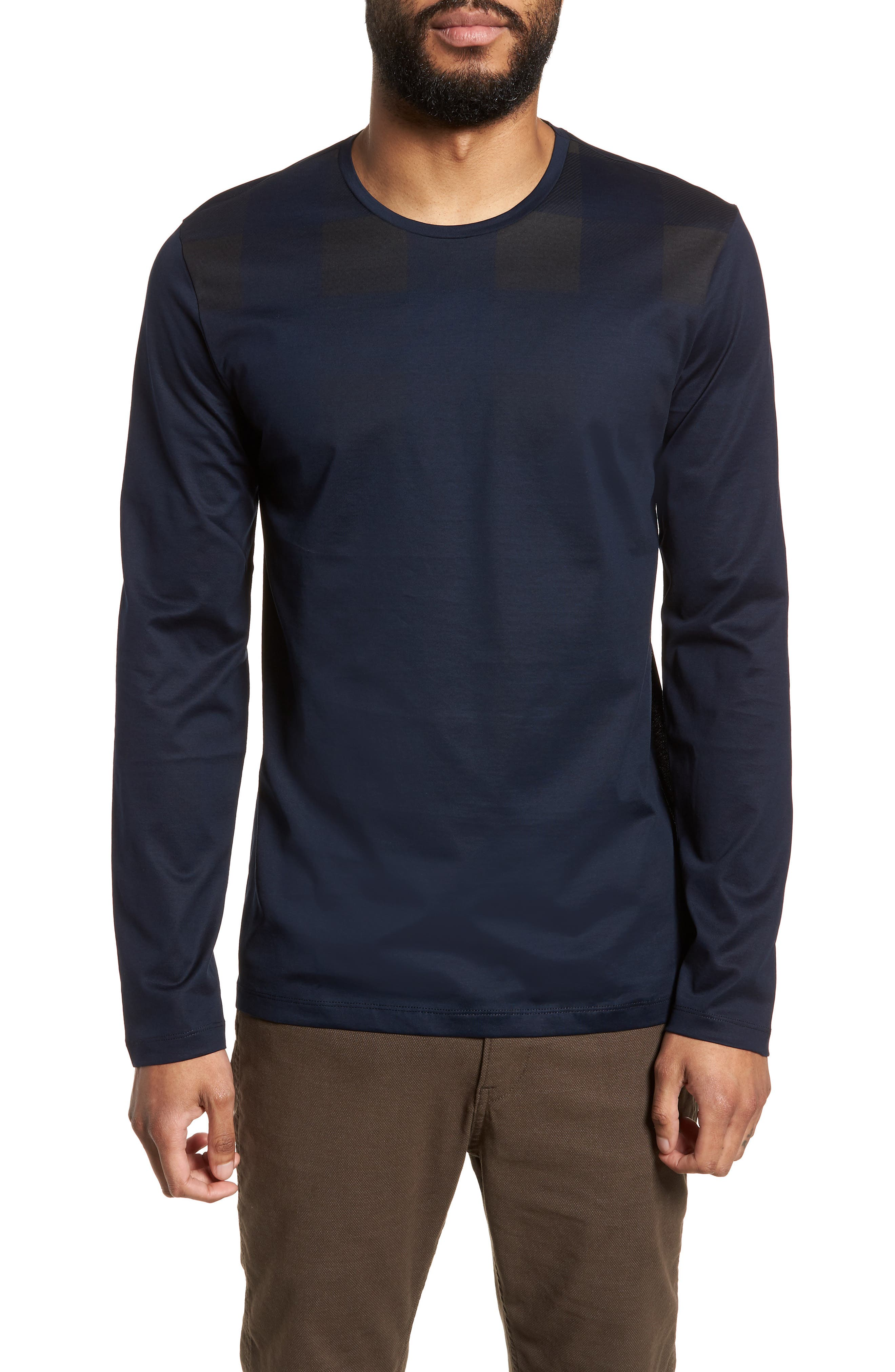 Main Image - BOSS Tenison Slim Fit Ombre Check Long Sleeve T-shirt
