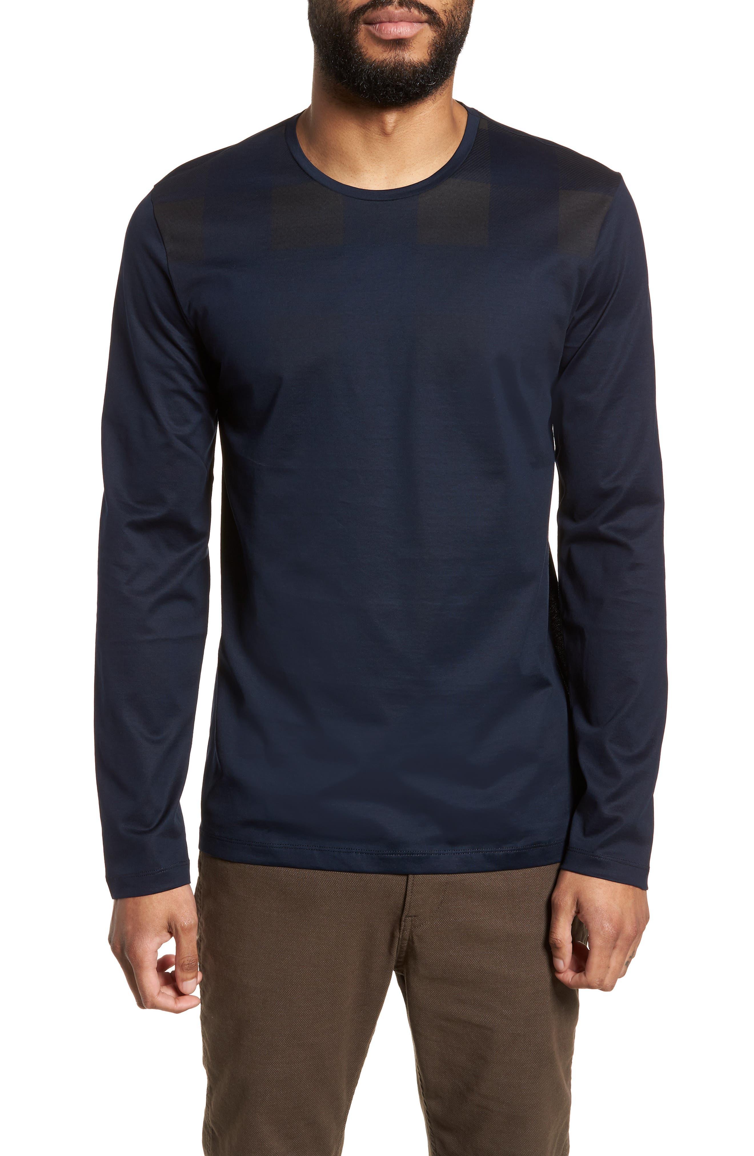 Tenison Slim Fit Ombre Check Long Sleeve T-shirt,                         Main,                         color, Blue