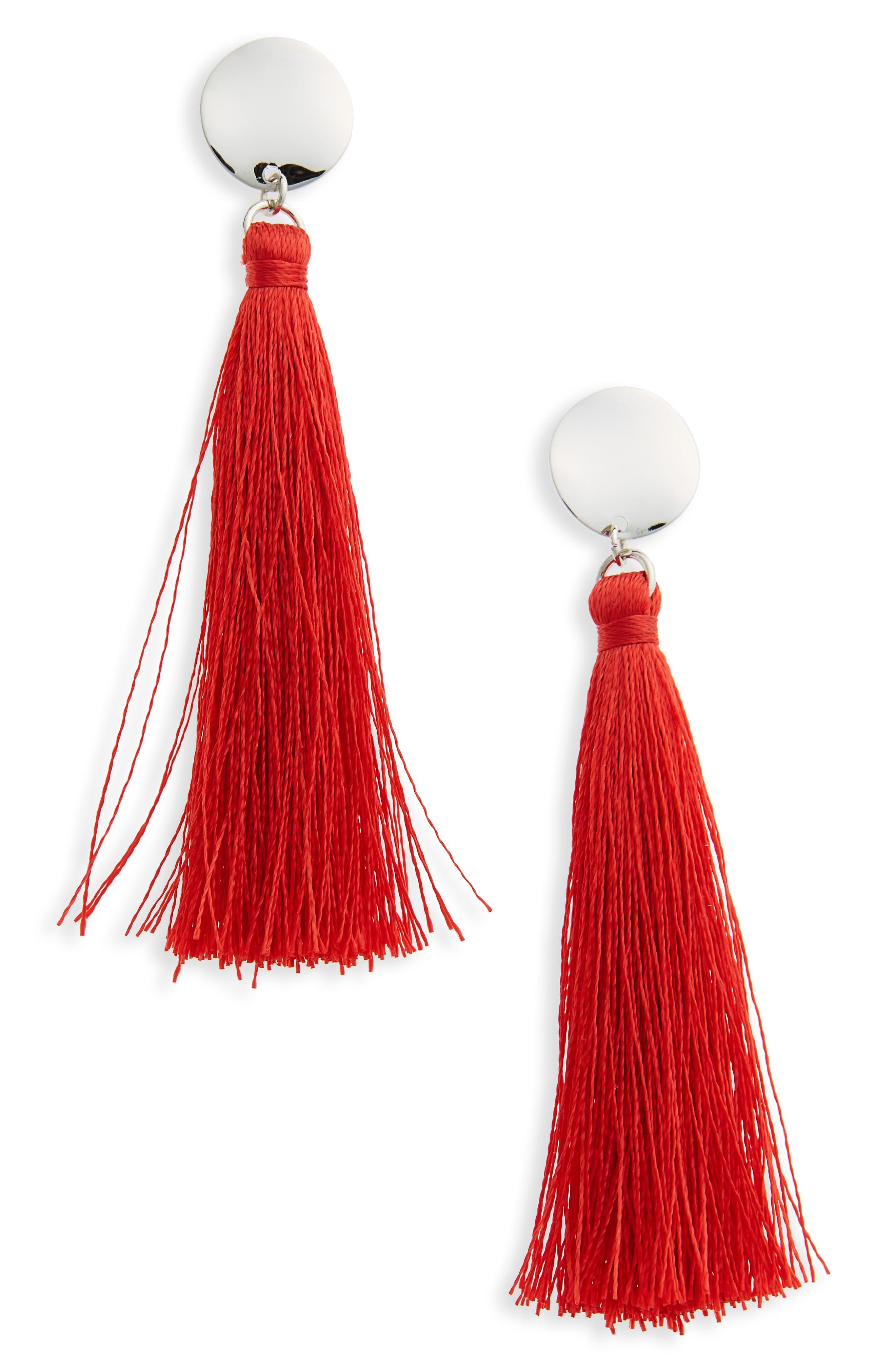 Stud Tassel Drop Earrings,                         Main,                         color, Red
