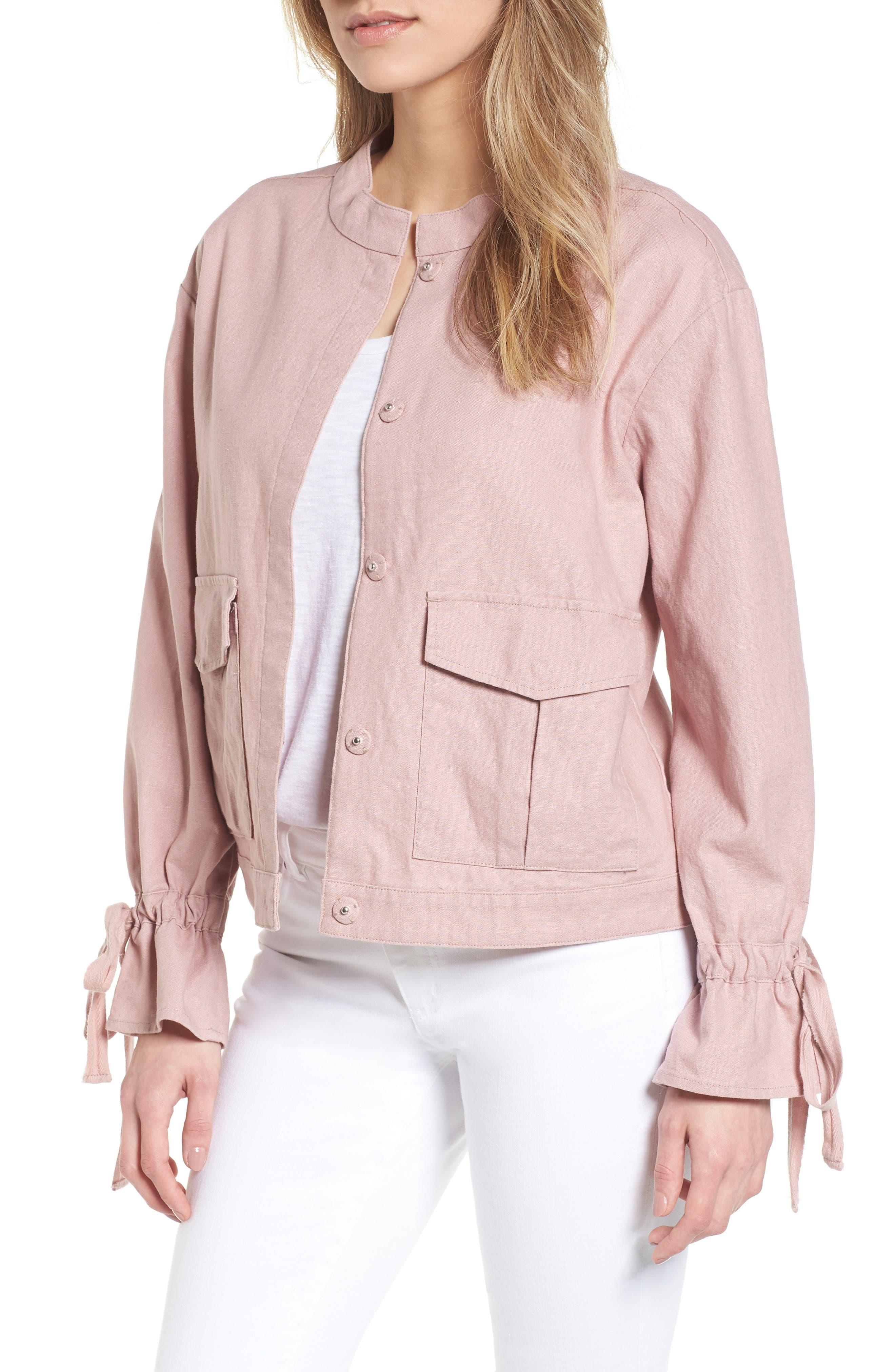 Tie Sleeve Linen & Cotton Jacket,                             Main thumbnail 1, color,                             Pink Adobe