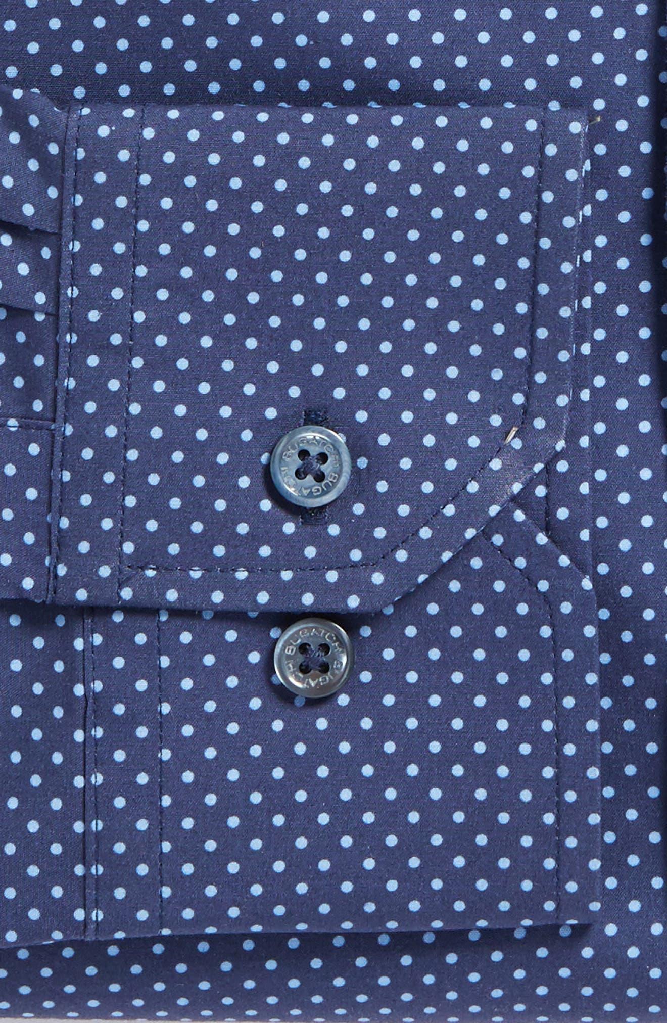 Trim Fit Dot Dress Shirt,                             Alternate thumbnail 2, color,                             Midnight