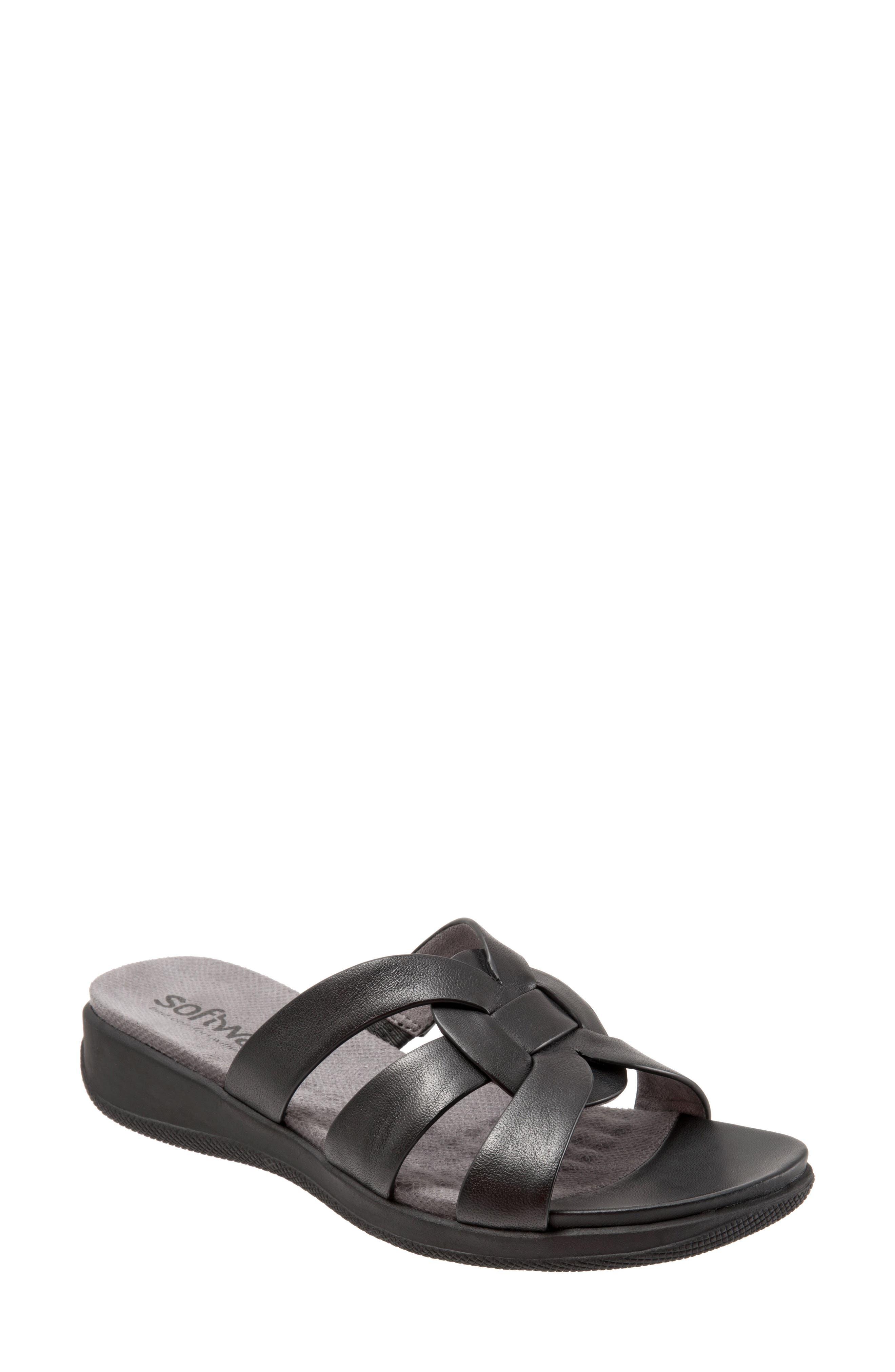 Thompson Slide Sandal,                             Main thumbnail 1, color,                             Black Leather
