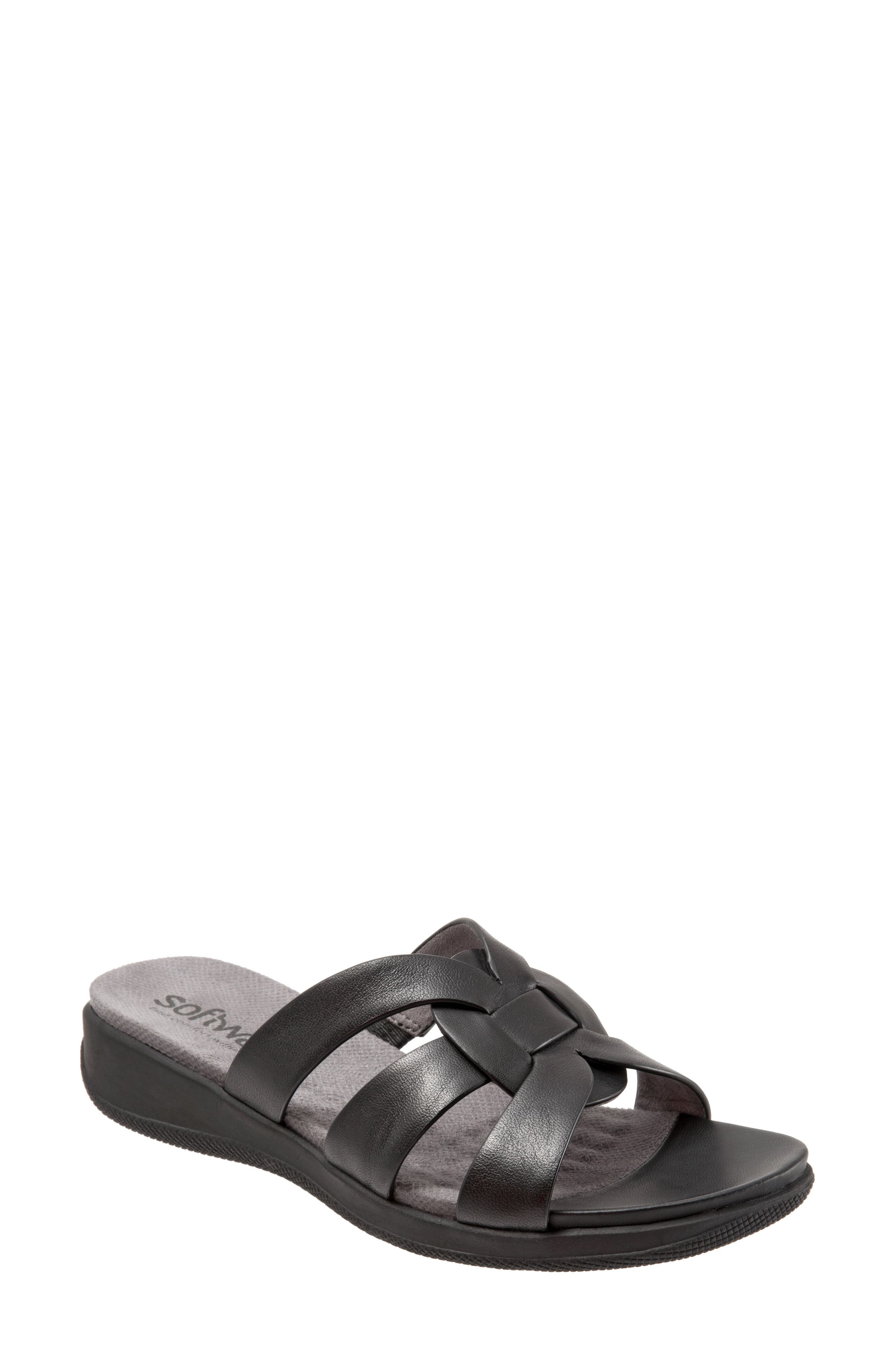 Thompson Slide Sandal,                         Main,                         color, Black Leather