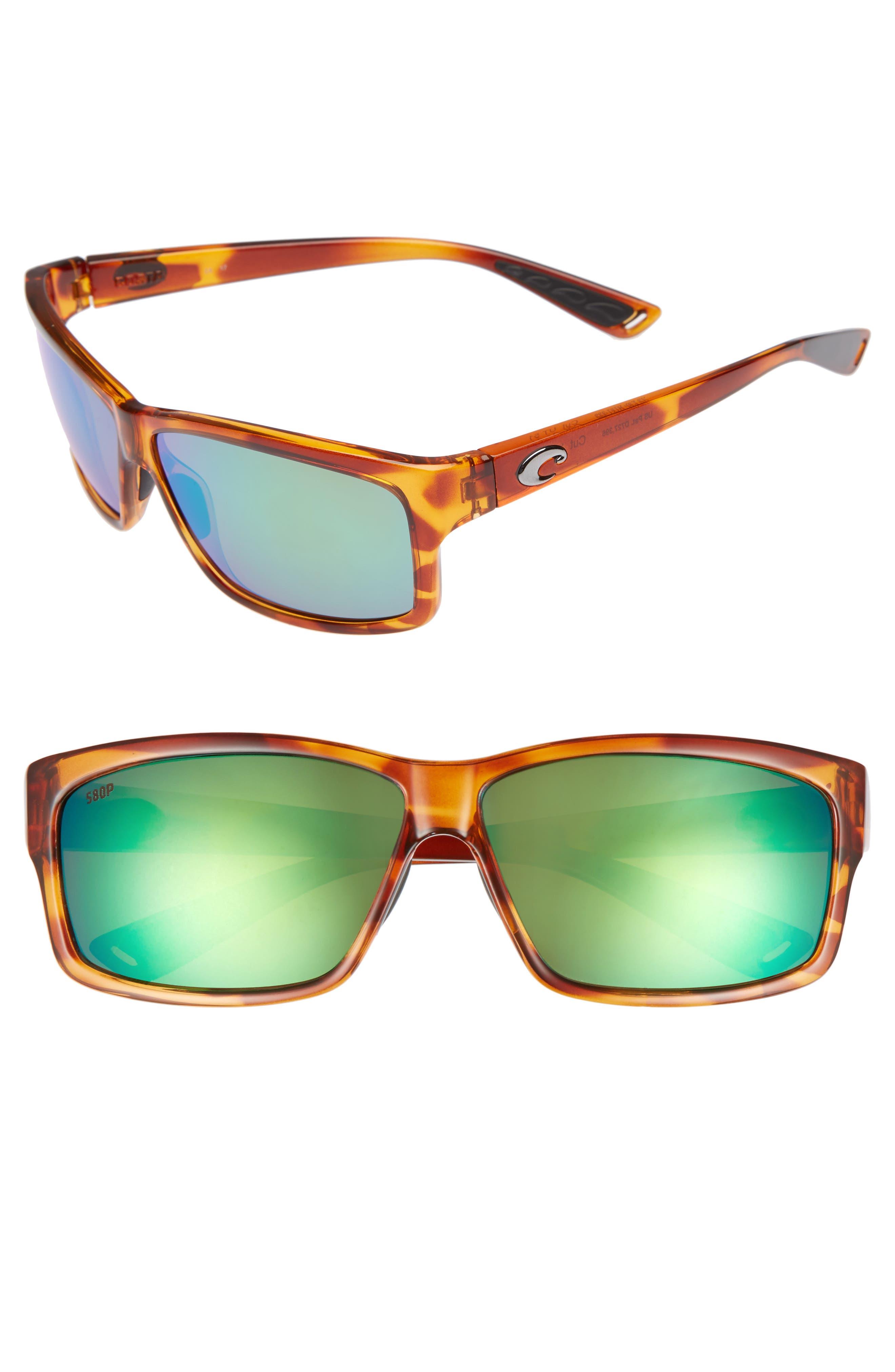Cut 60mm Polarized Sunglasses,                         Main,                         color, Honey Tortoise/ Green Mirror