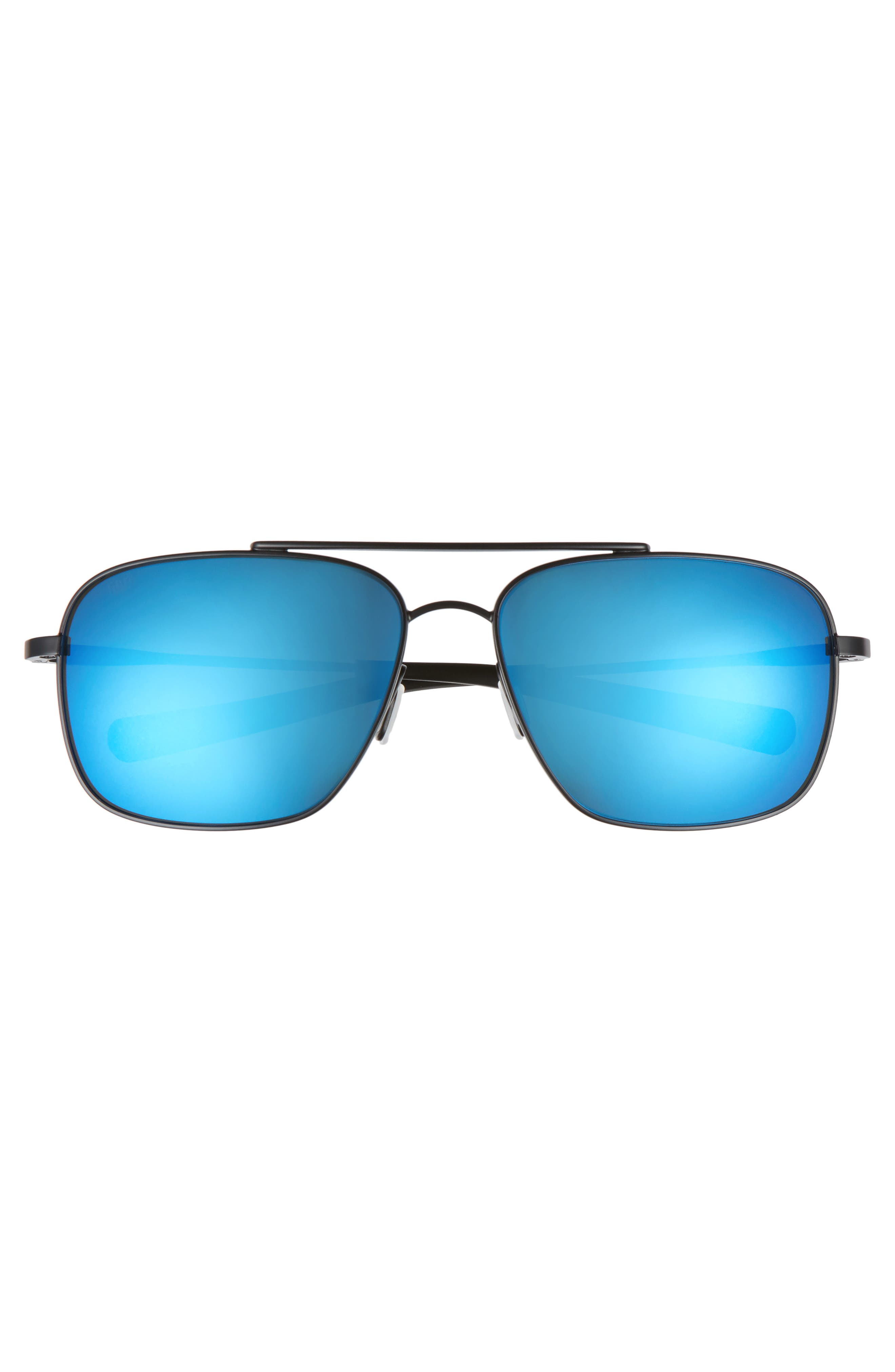 Canaveral 60mm Polarized Sunglasses,                             Alternate thumbnail 2, color,                             Satin Black/ Blue Mirror