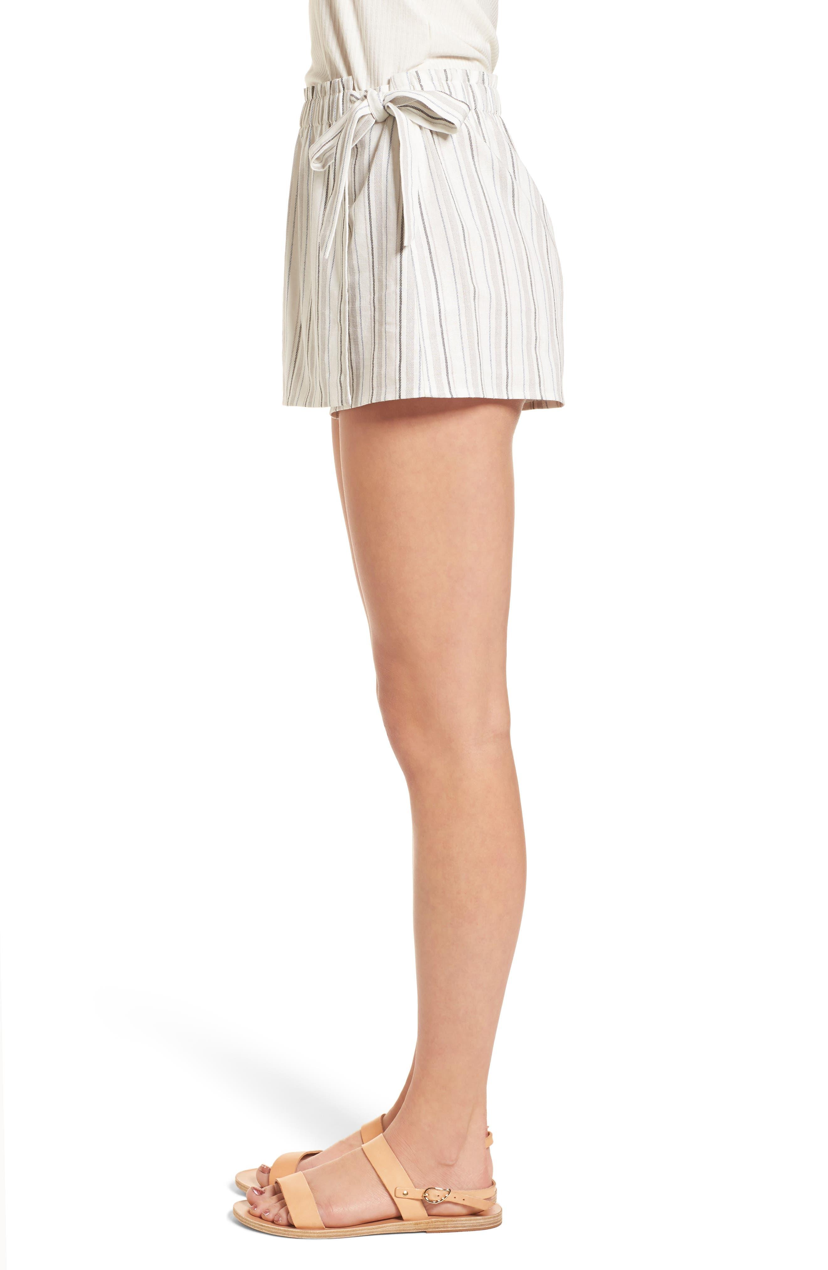 Side Tie Stripe Skort,                             Alternate thumbnail 3, color,                             Natural/ Black Linen Stripe
