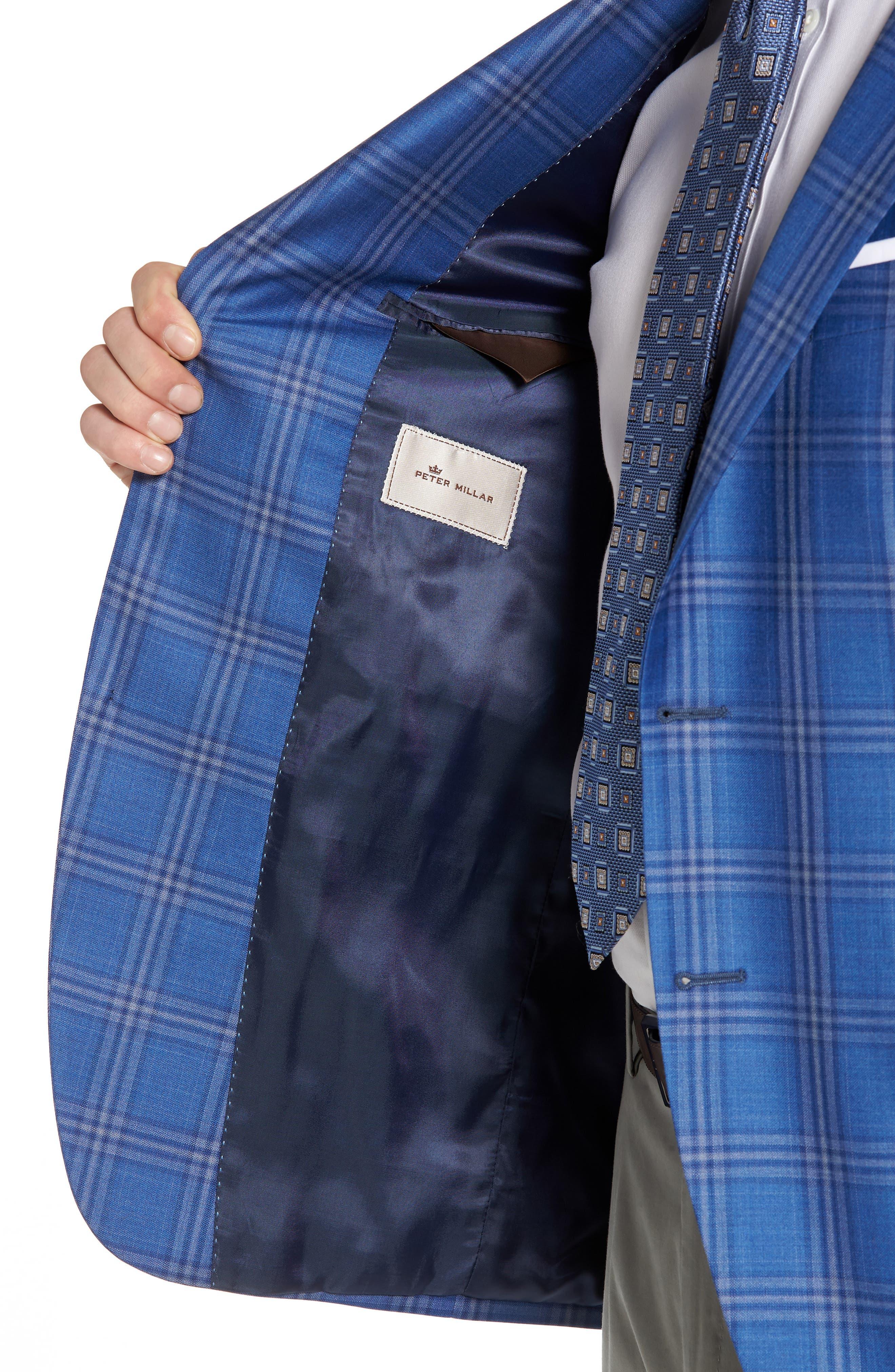 Classic Fit Plaid Wool Sport Coat,                             Alternate thumbnail 4, color,                             Blue