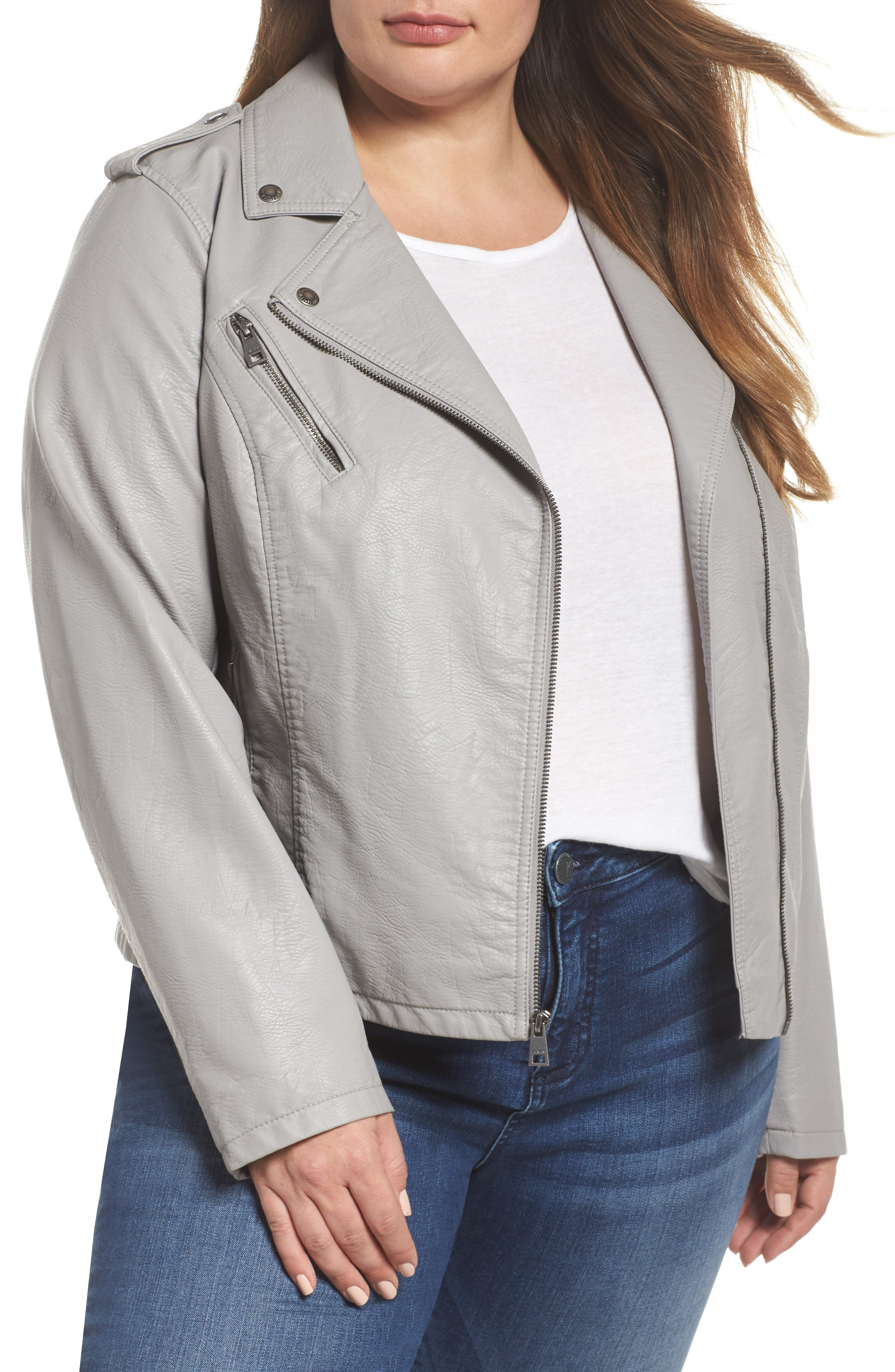 Faux Leather Jacket,                         Main,                         color, Grey
