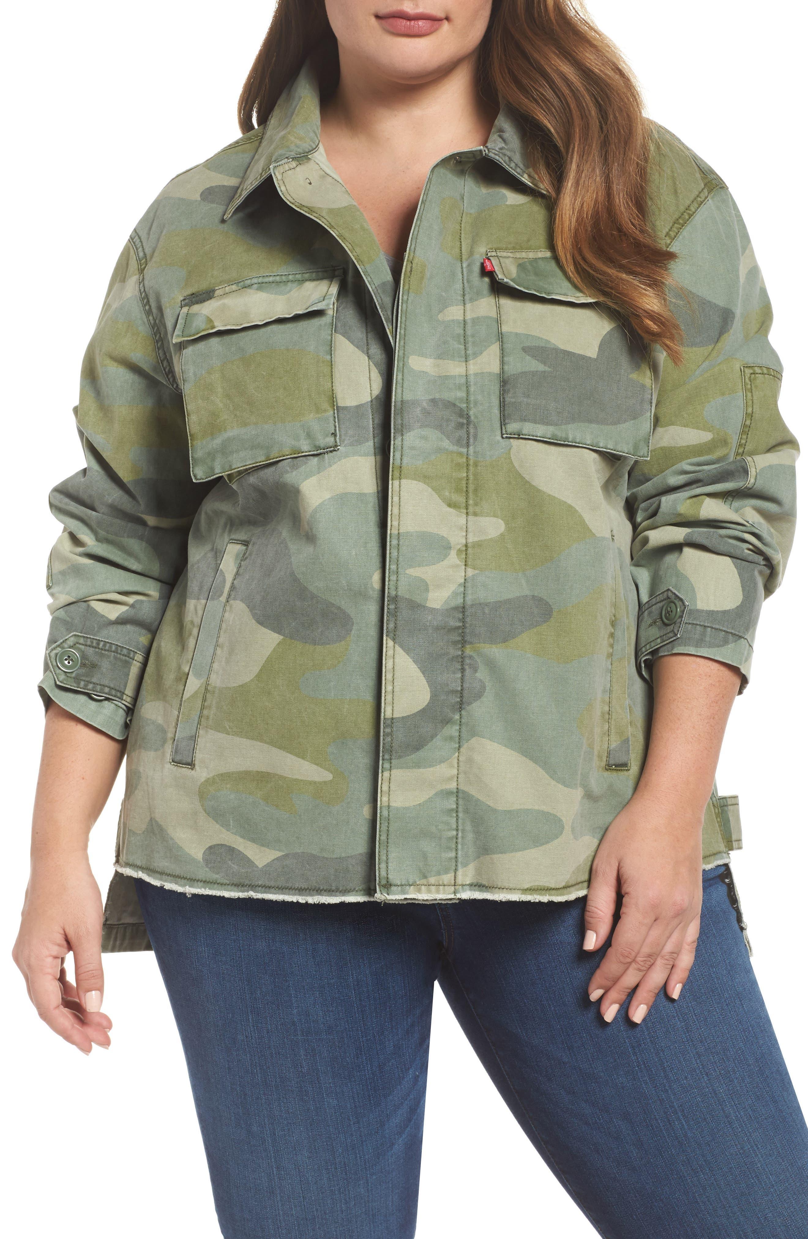 High/Low Shirt Jacket,                         Main,                         color, Light Green Camo