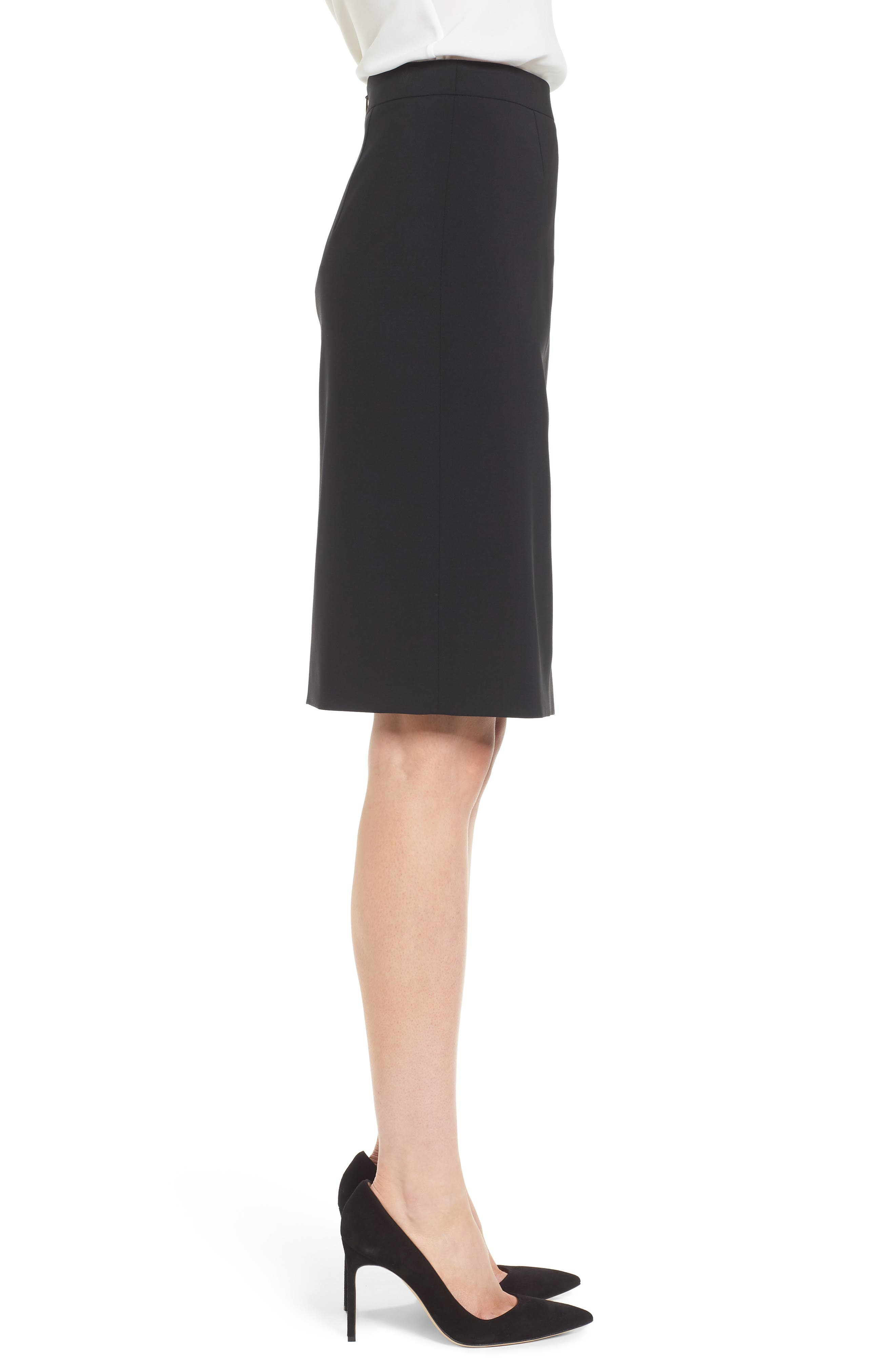 Volania Stretch Wool Pencil Skirt,                             Alternate thumbnail 3, color,                             Black
