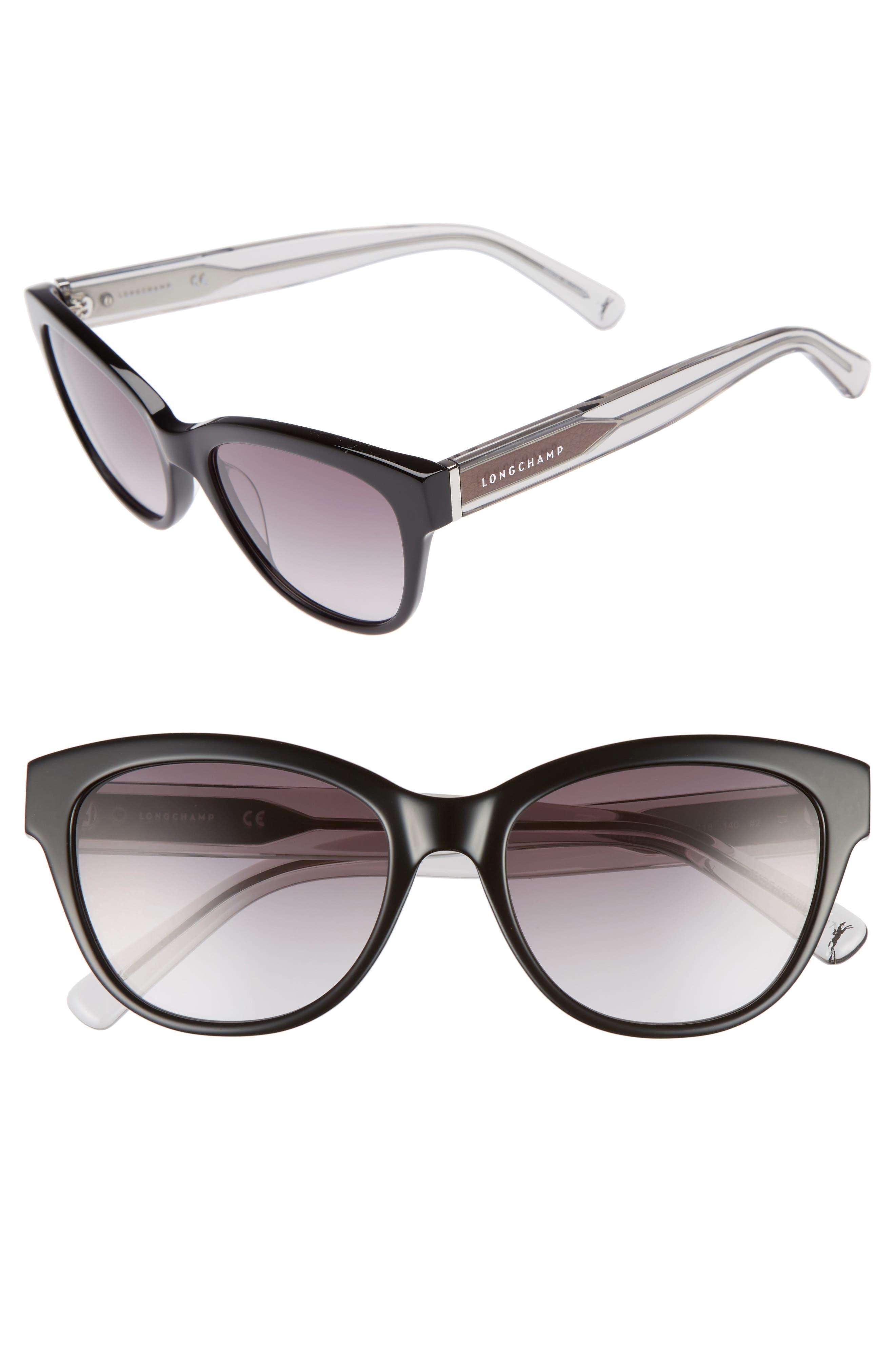 54mm Gradient Lens Sunglasses,                             Main thumbnail 1, color,                             Black