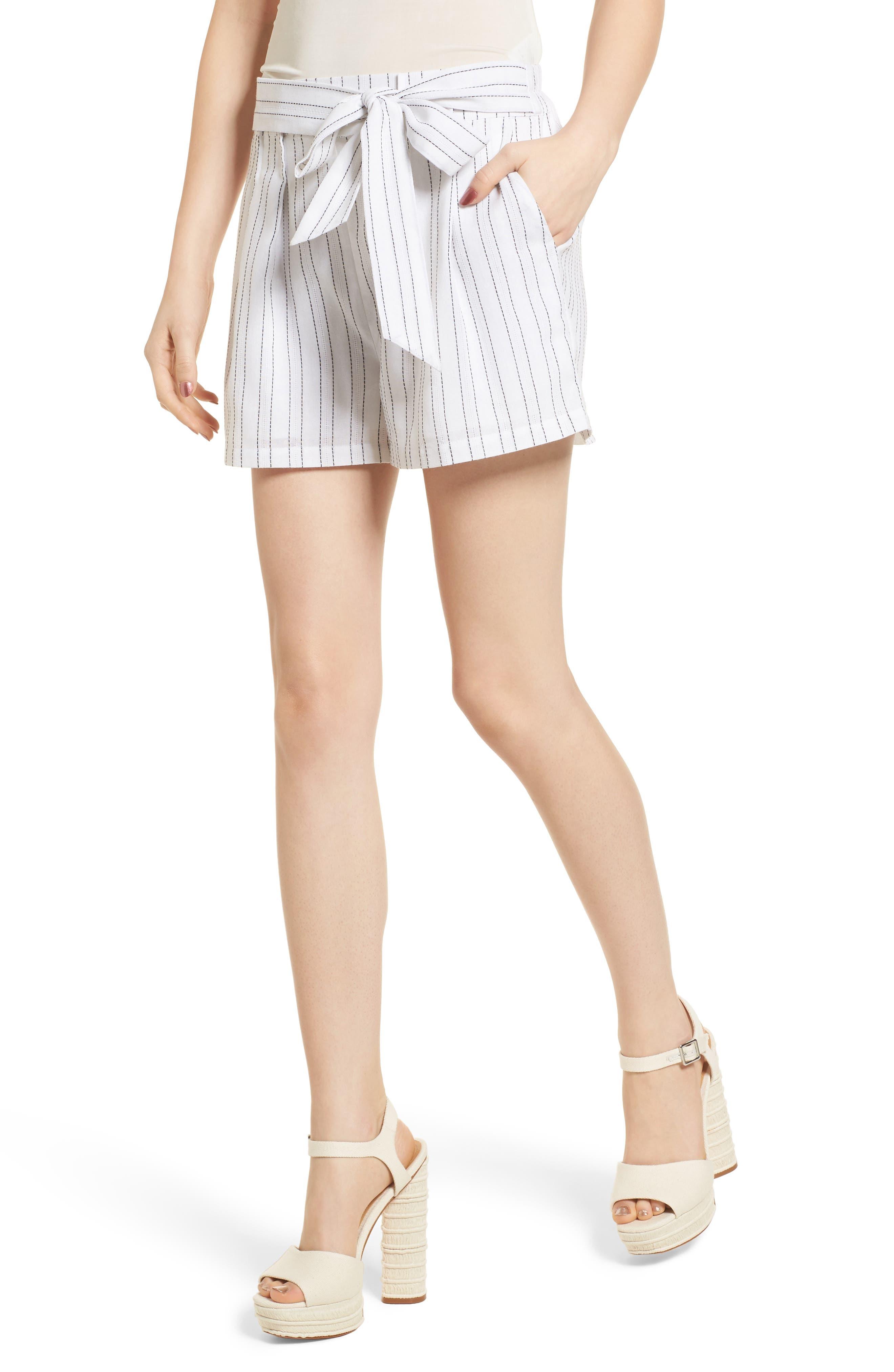Tie Front Shorts,                             Main thumbnail 1, color,                             White/ Black