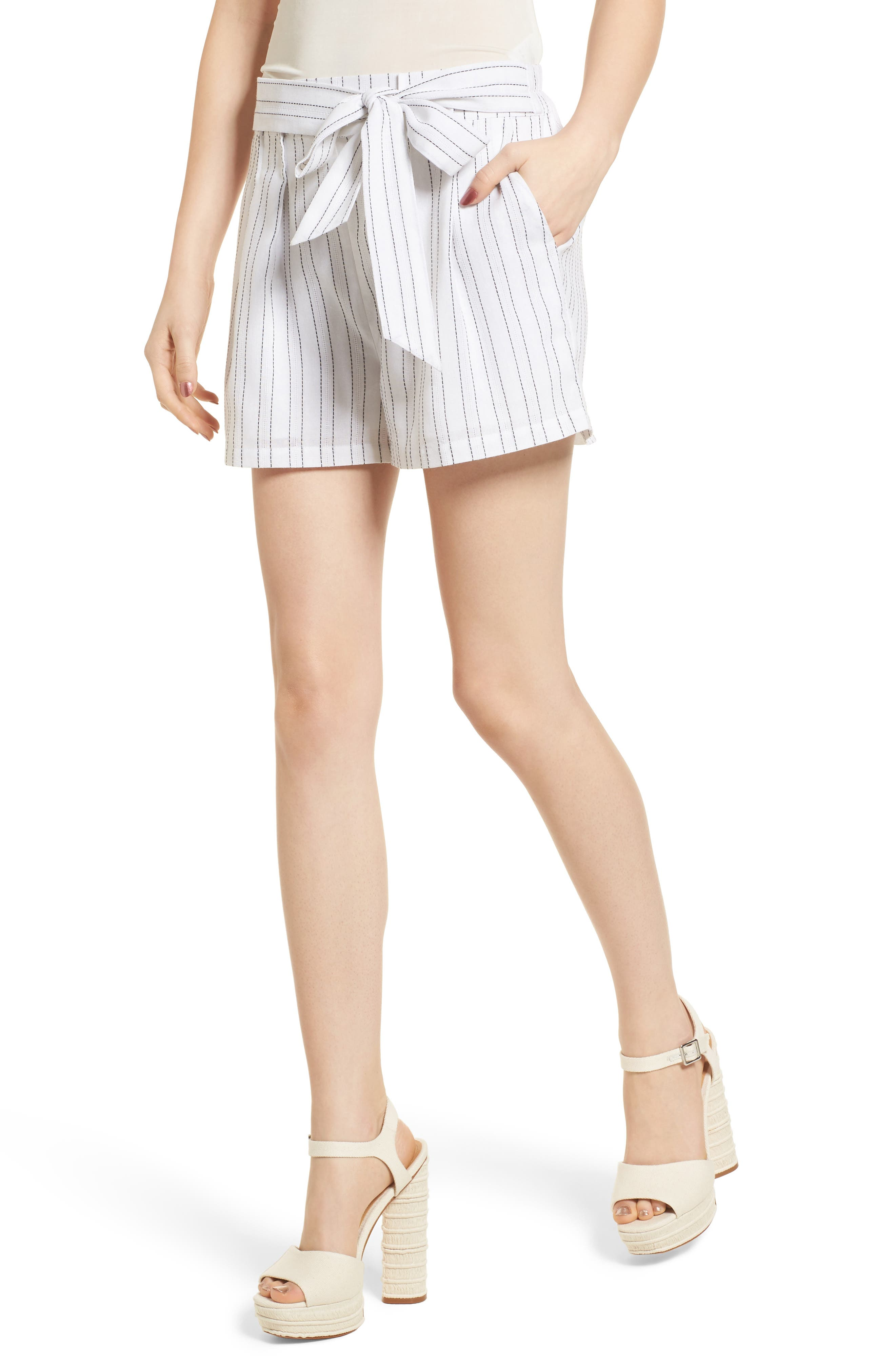 Tie Front Shorts,                         Main,                         color, White/ Black