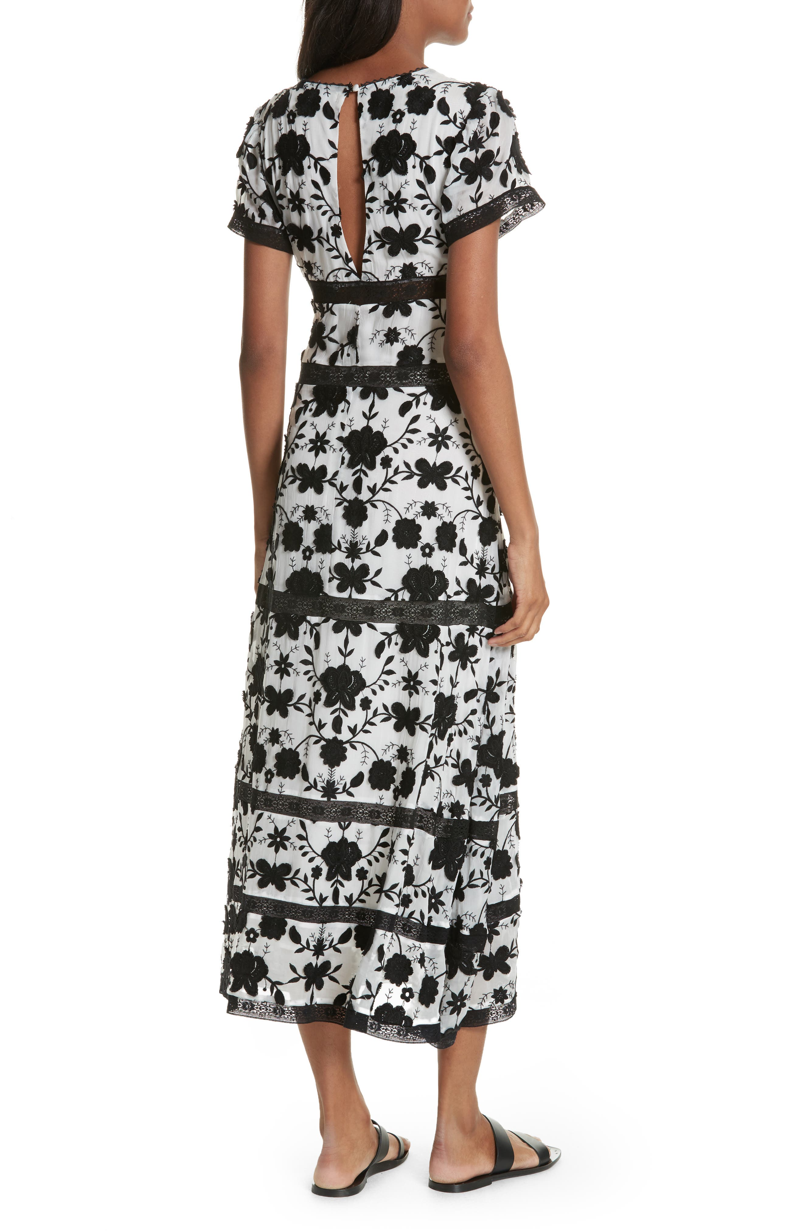 Fusca Floral Print Maxi Dress,                             Alternate thumbnail 2, color,                             Porcelain/ Caviar