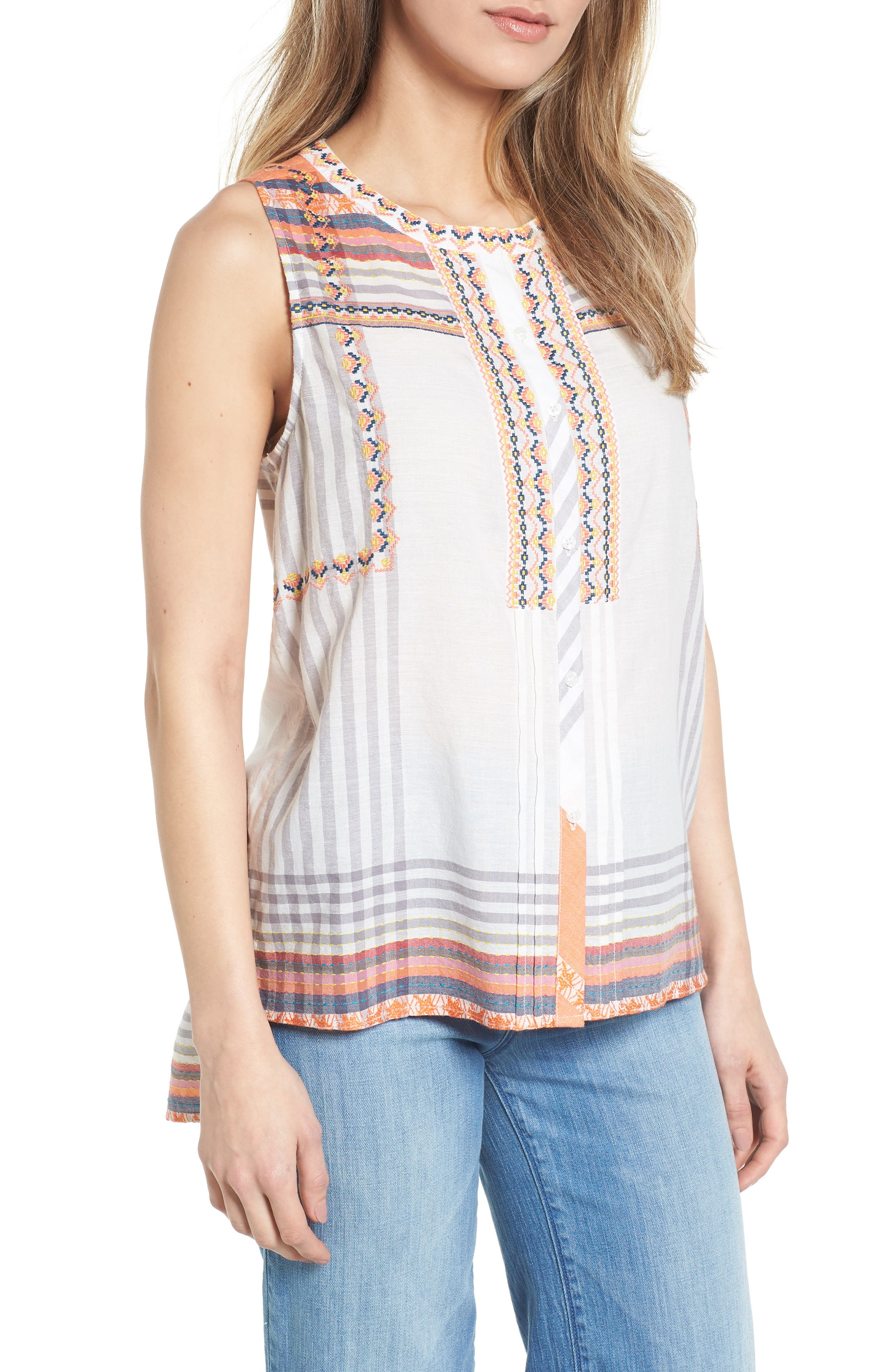 Embroidered Cotton Sleeveless Blouse,                         Main,                         color, White- Grey