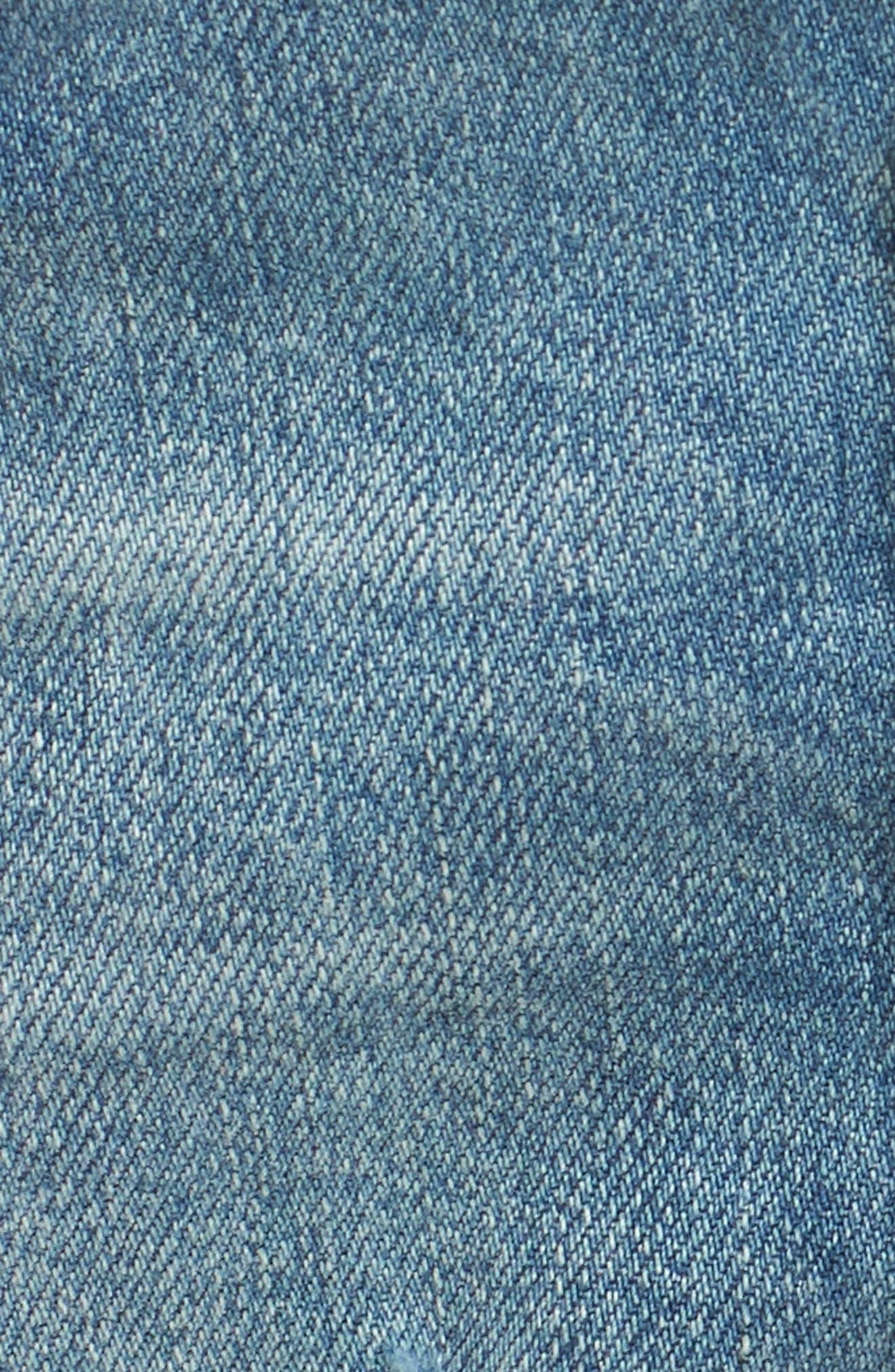 High Waist Boyfriend Cutoff Denim Shorts,                             Alternate thumbnail 5, color,                             Gravel Medium Vintage