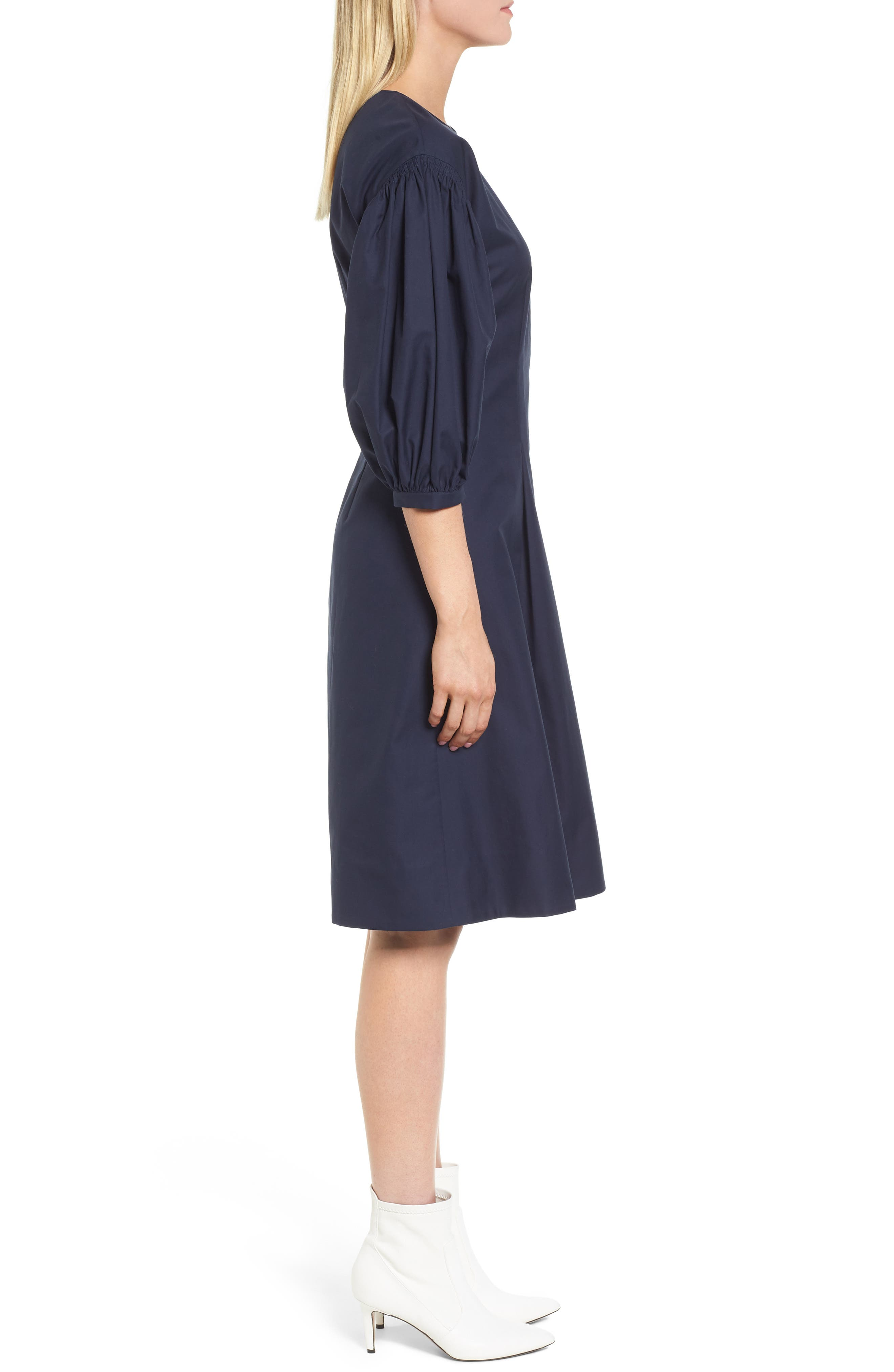 Blouson Sleeve A-Line Twill Dress,                             Alternate thumbnail 3, color,                             Navy Night