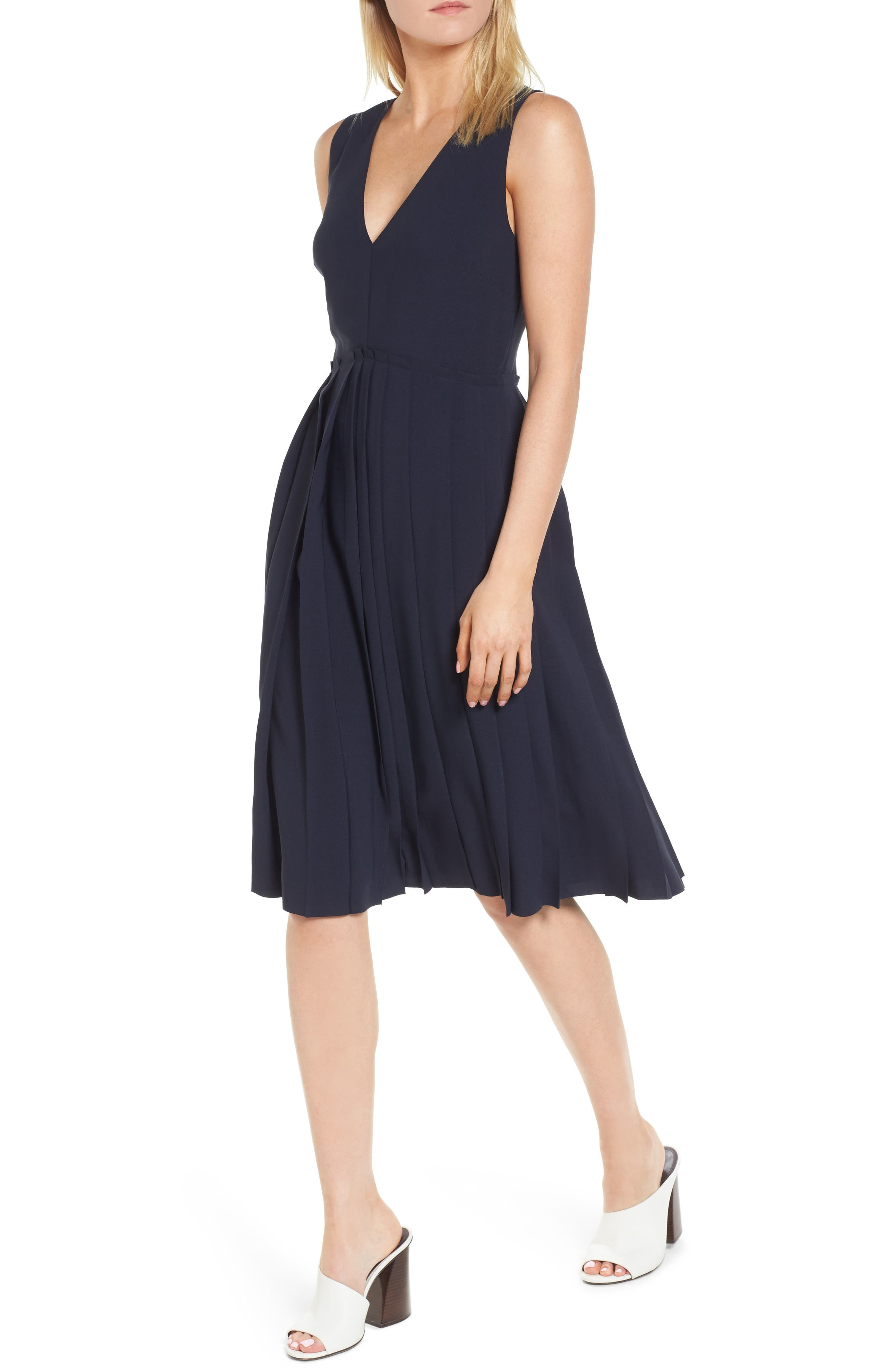 Pleated Fit & Flare Dress,                         Main,                         color, Navy Night