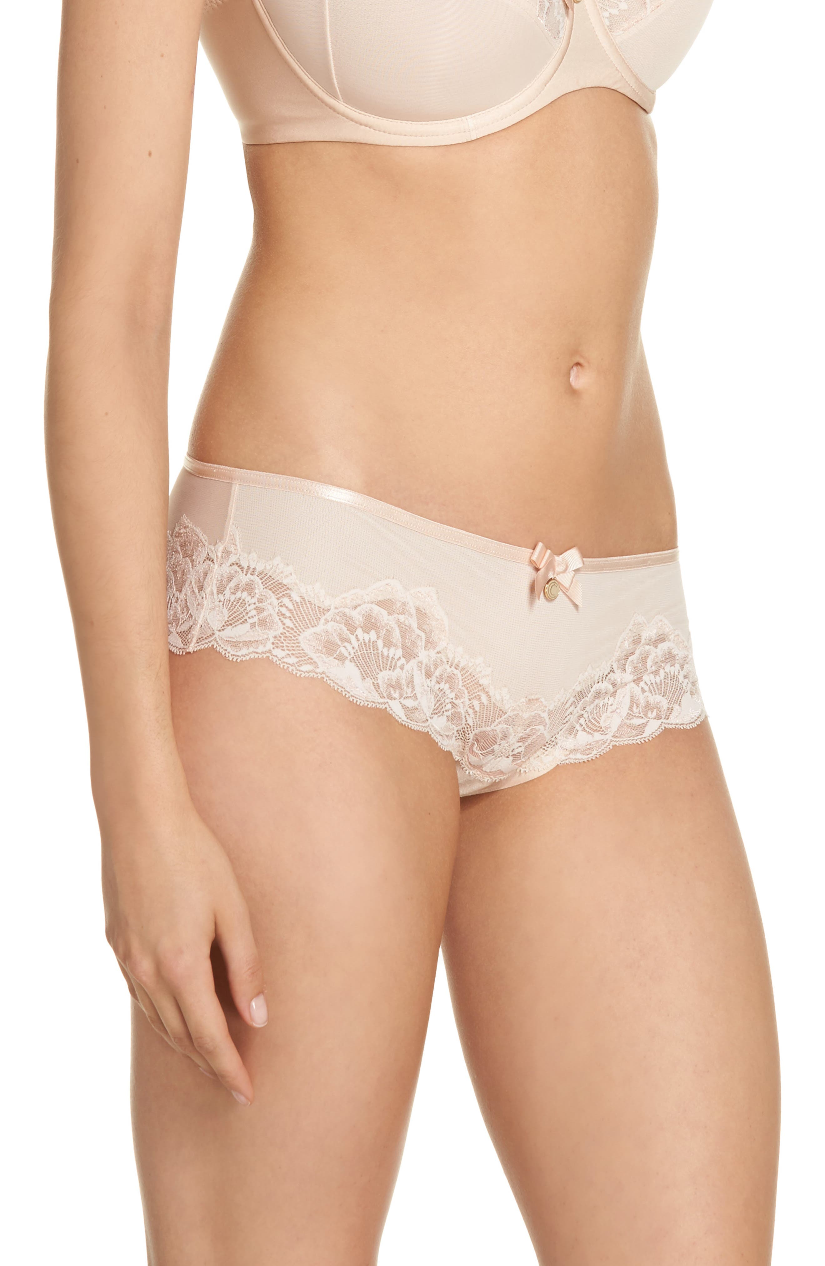 Orangerie Hipster Panties,                             Alternate thumbnail 3, color,                             Skin Rose