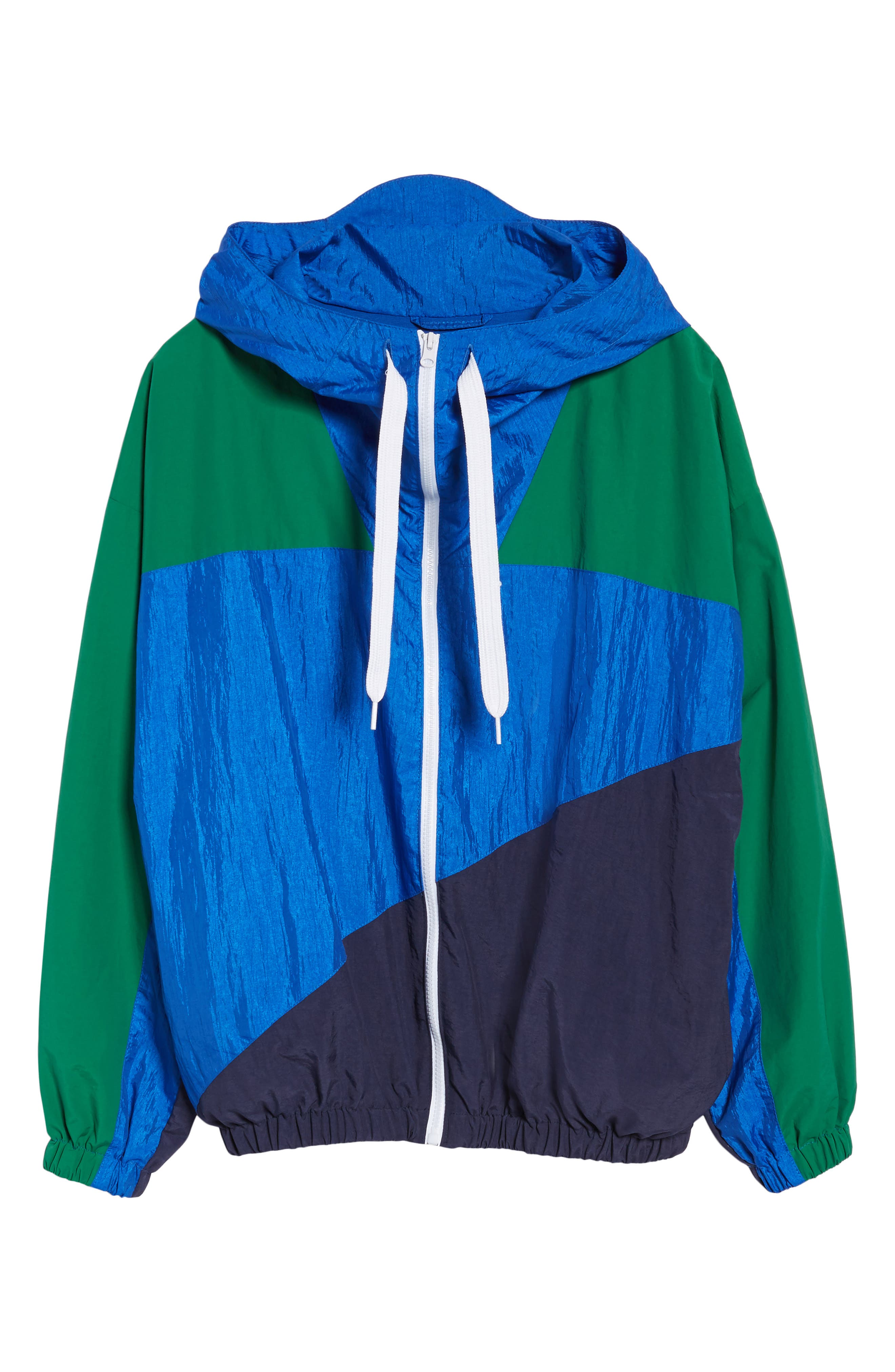 Colorblock Windbreaker Jacket,                             Alternate thumbnail 6, color,                             Green/ Blue