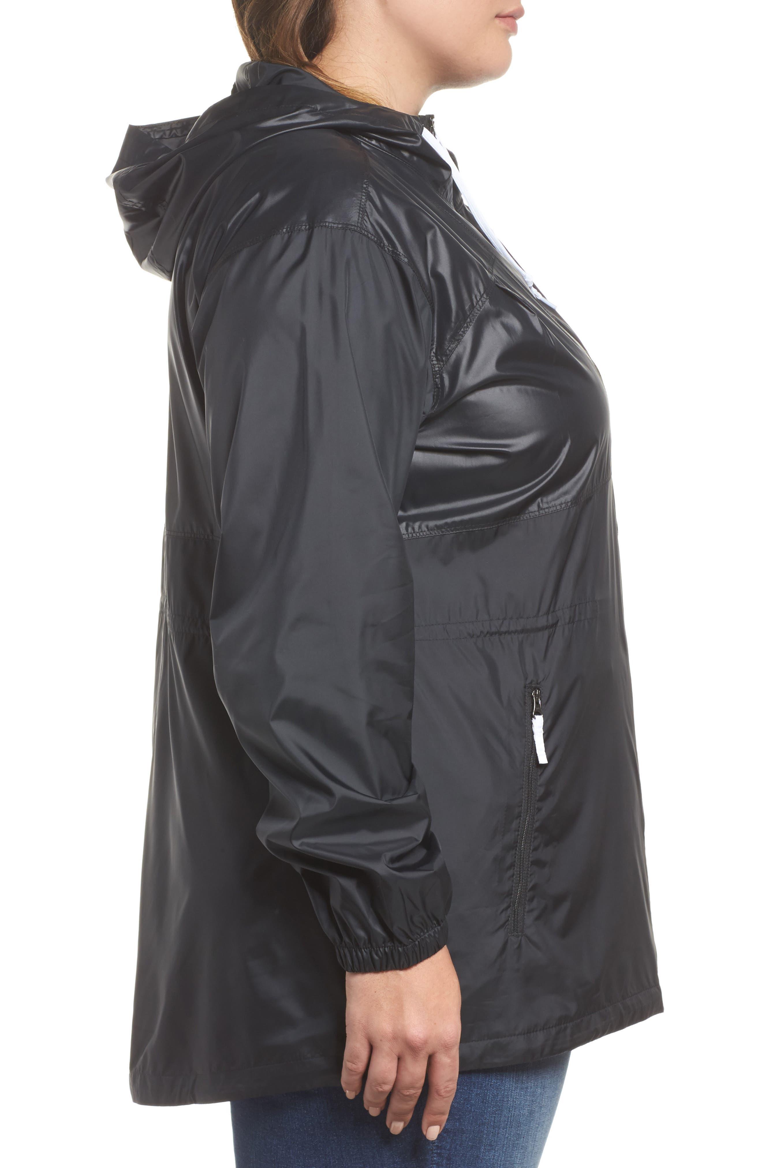 Flashback<sup>™</sup> Water Resistant Hooded Windbreaker,                             Alternate thumbnail 3, color,                             Black Shiny/ Matte White