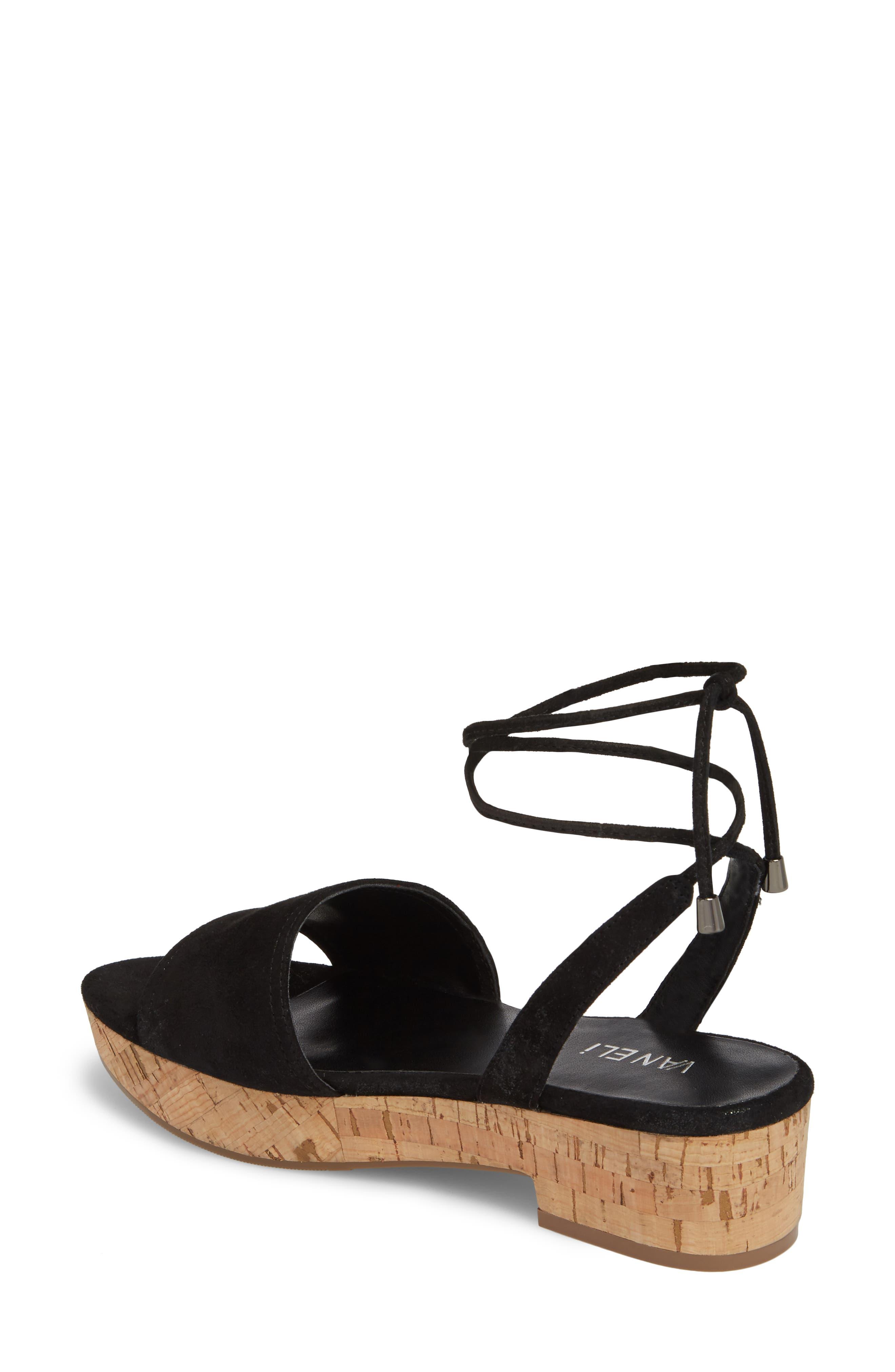 Saba Platform Sandal,                             Alternate thumbnail 2, color,                             Black Printed Suede