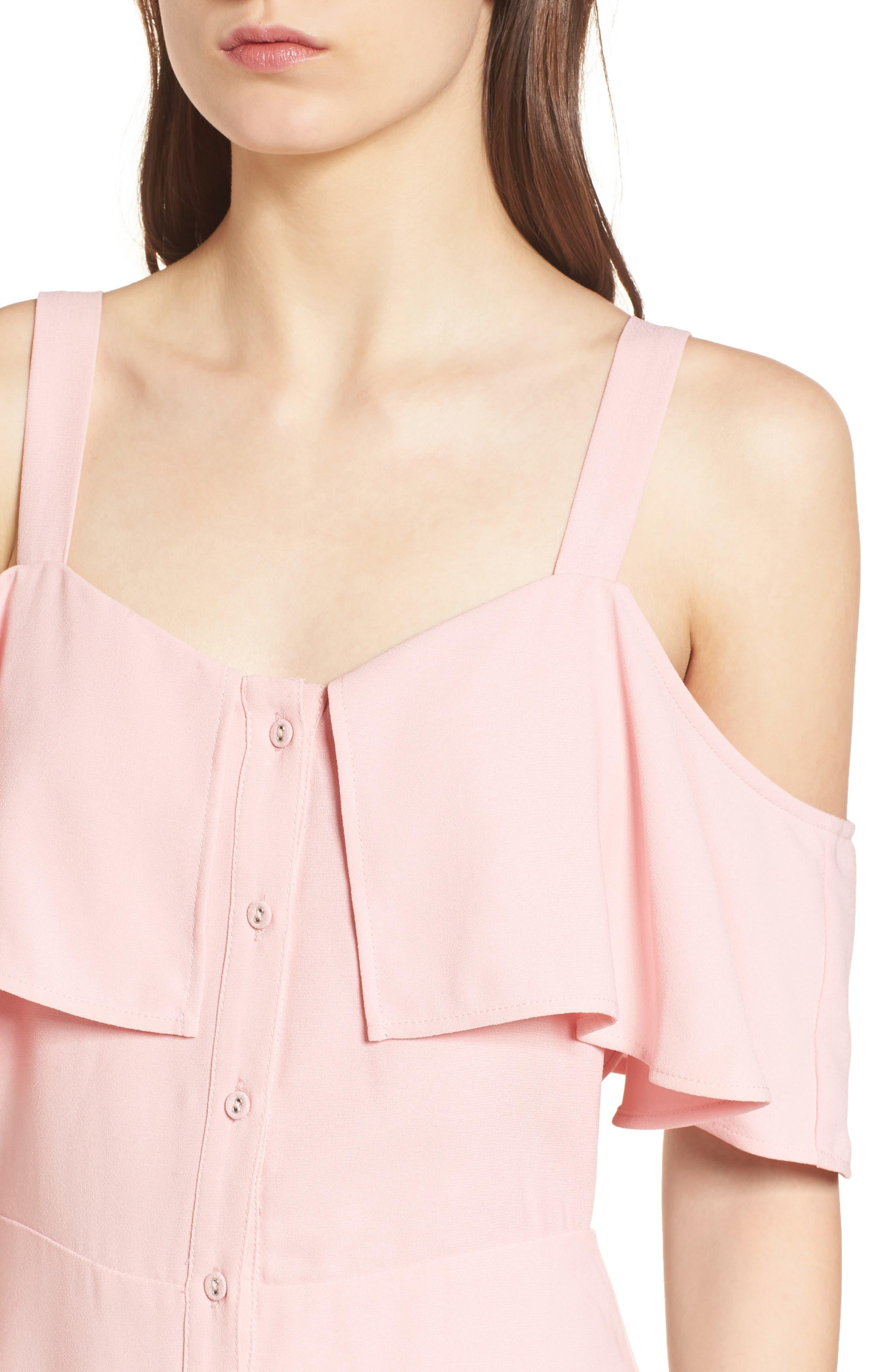 Cold Shoulder Dress,                             Alternate thumbnail 4, color,                             Peach