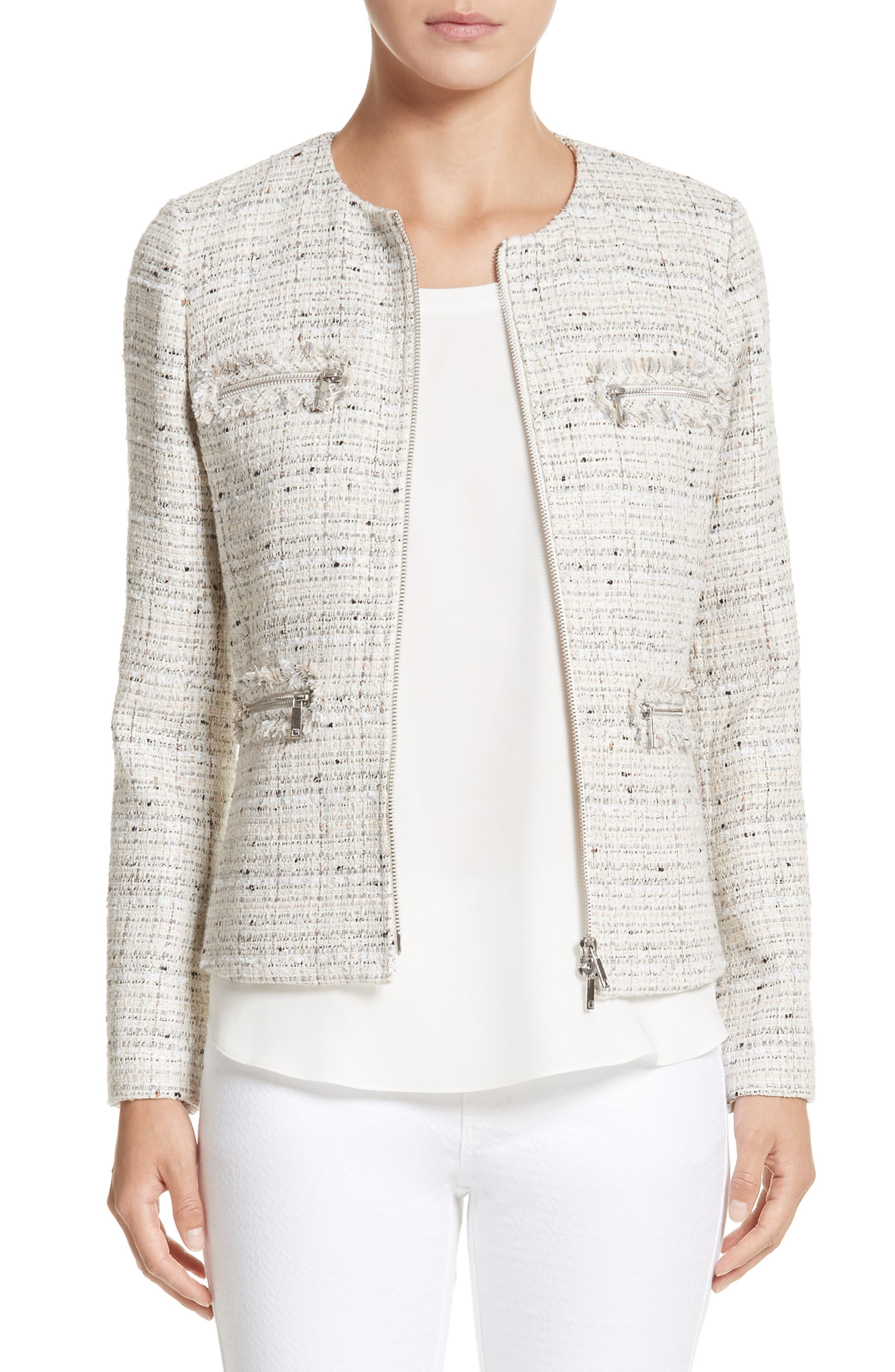 Emelyn Tweed Jacket,                         Main,                         color, Raffia Multi