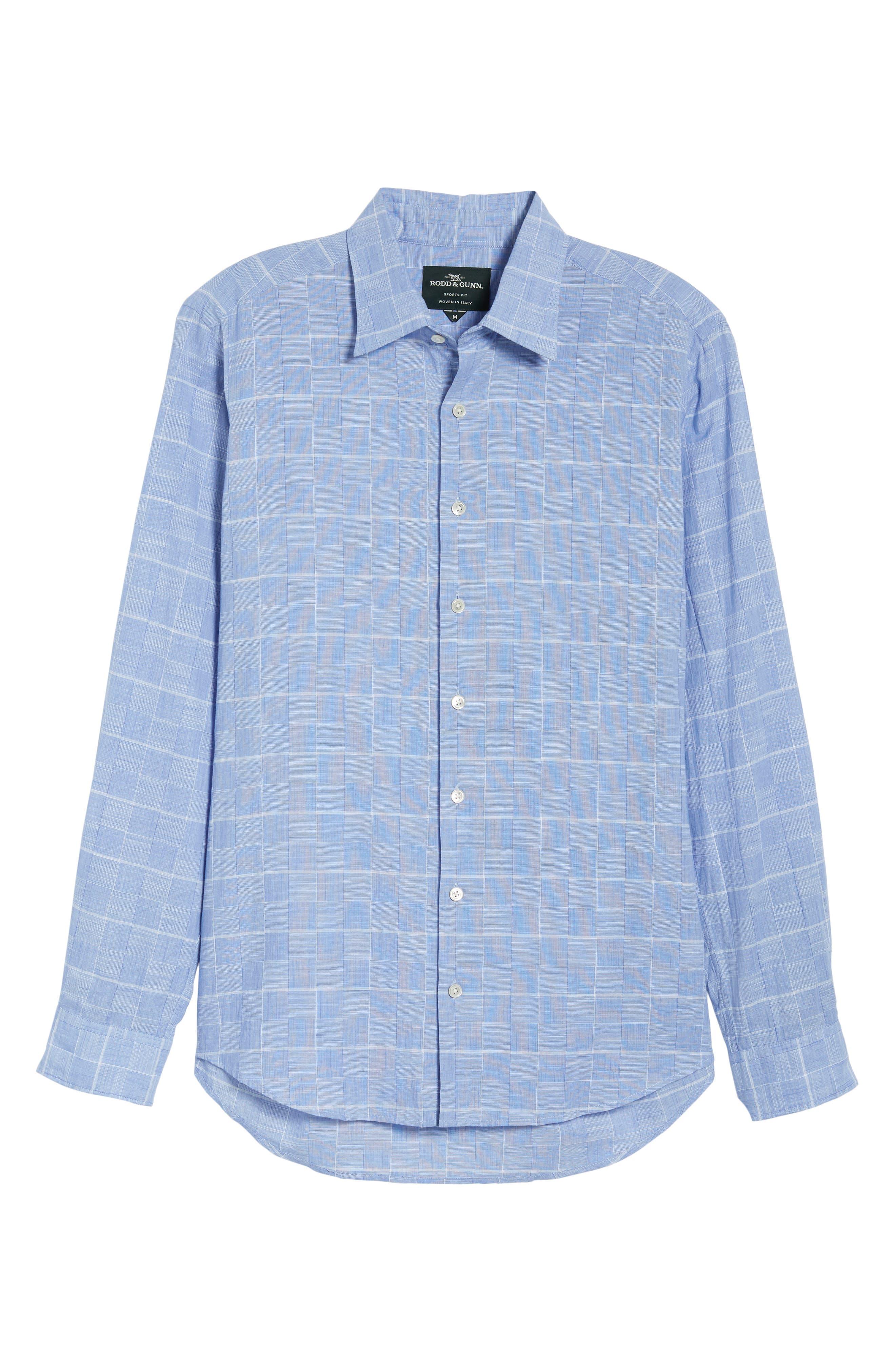 Tussock Creek Regular Fit Check Sport Shirt,                             Alternate thumbnail 6, color,                             Azure