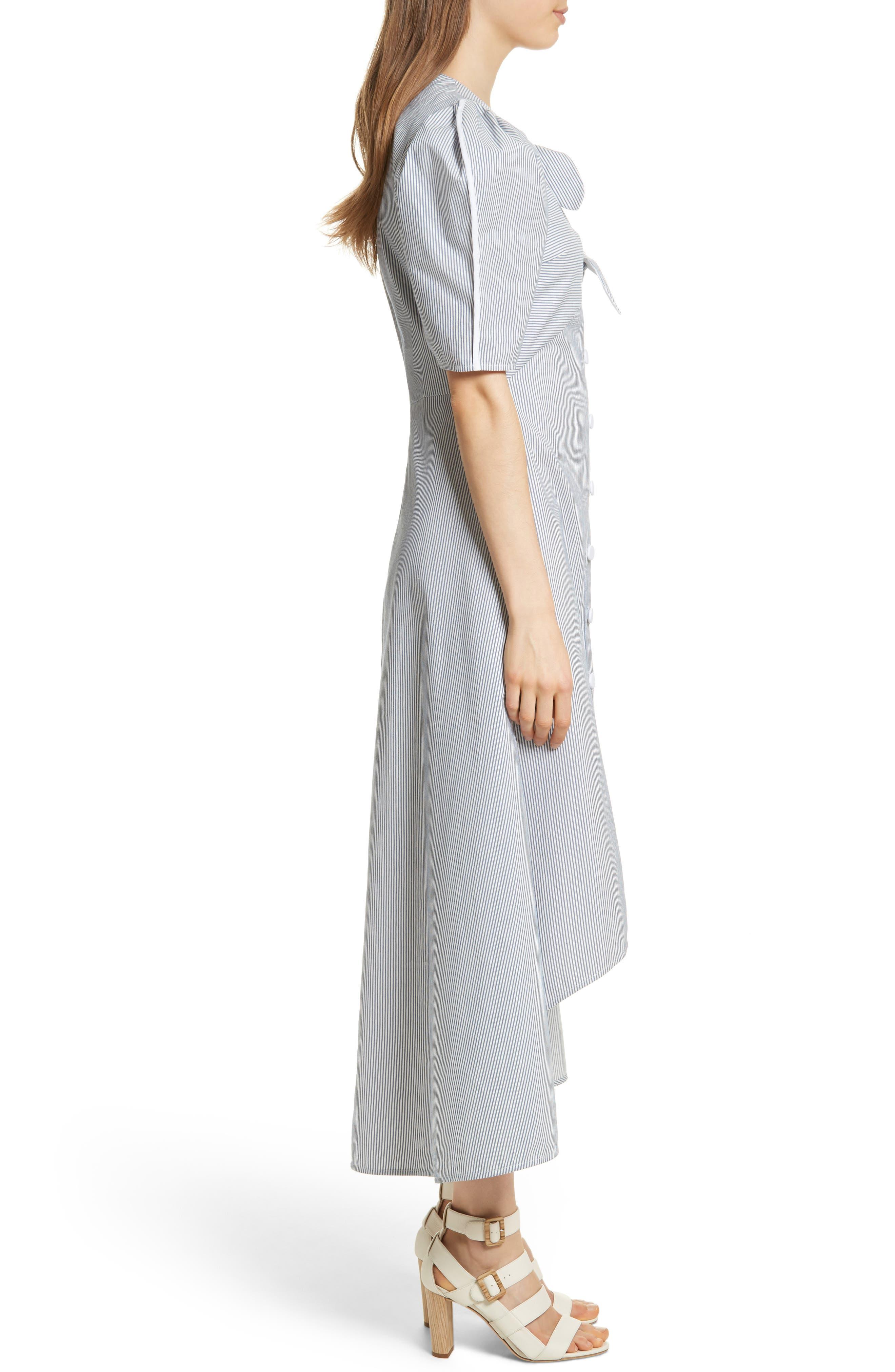 Prose & Poetry Camila Double Front Tie Midi Dress,                             Alternate thumbnail 3, color,                             Canvas Stripe