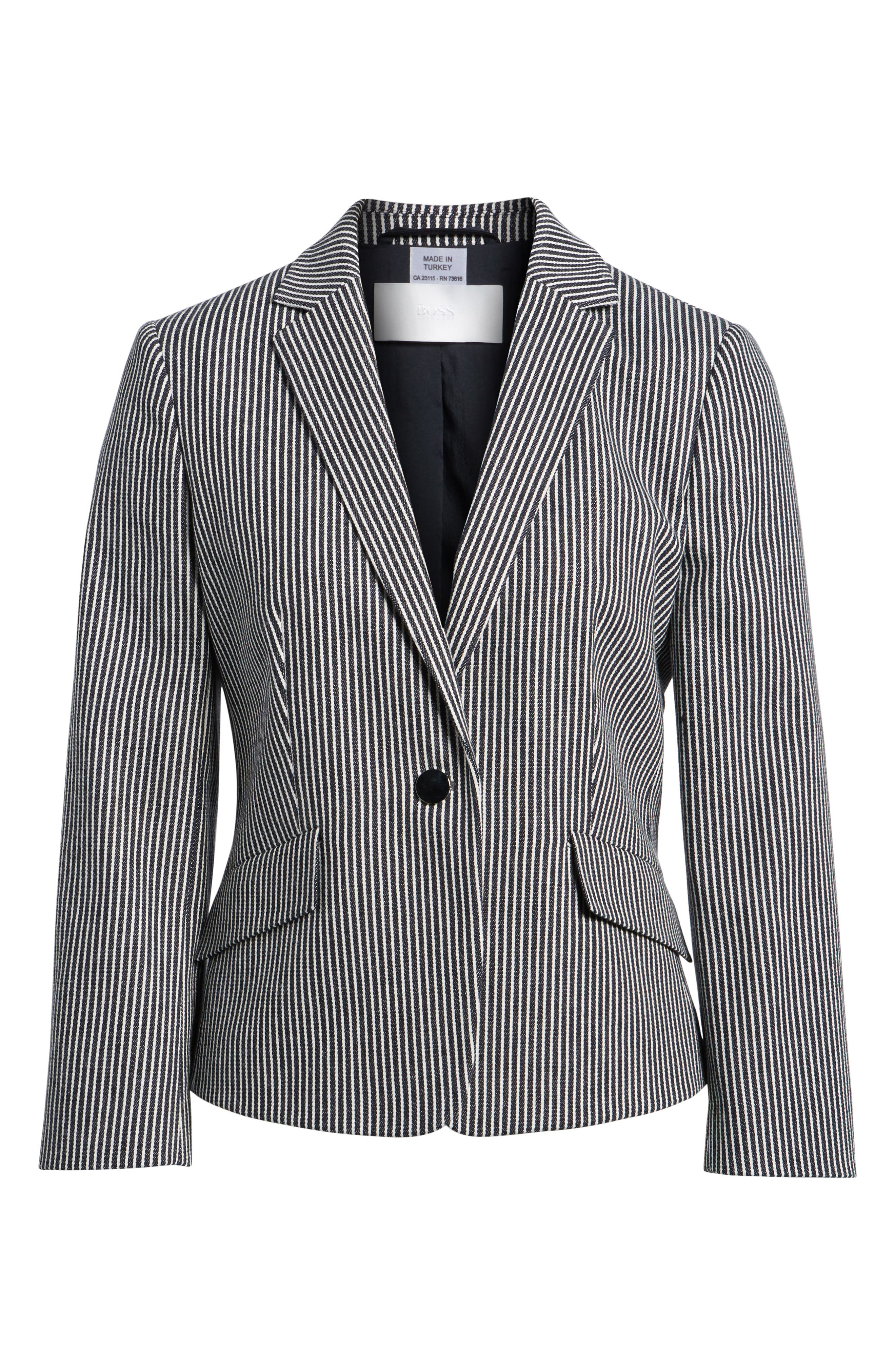 Katemika Stripe Stretch Cotton Suit Jacket,                             Alternate thumbnail 7, color,                             Navy Fantasy
