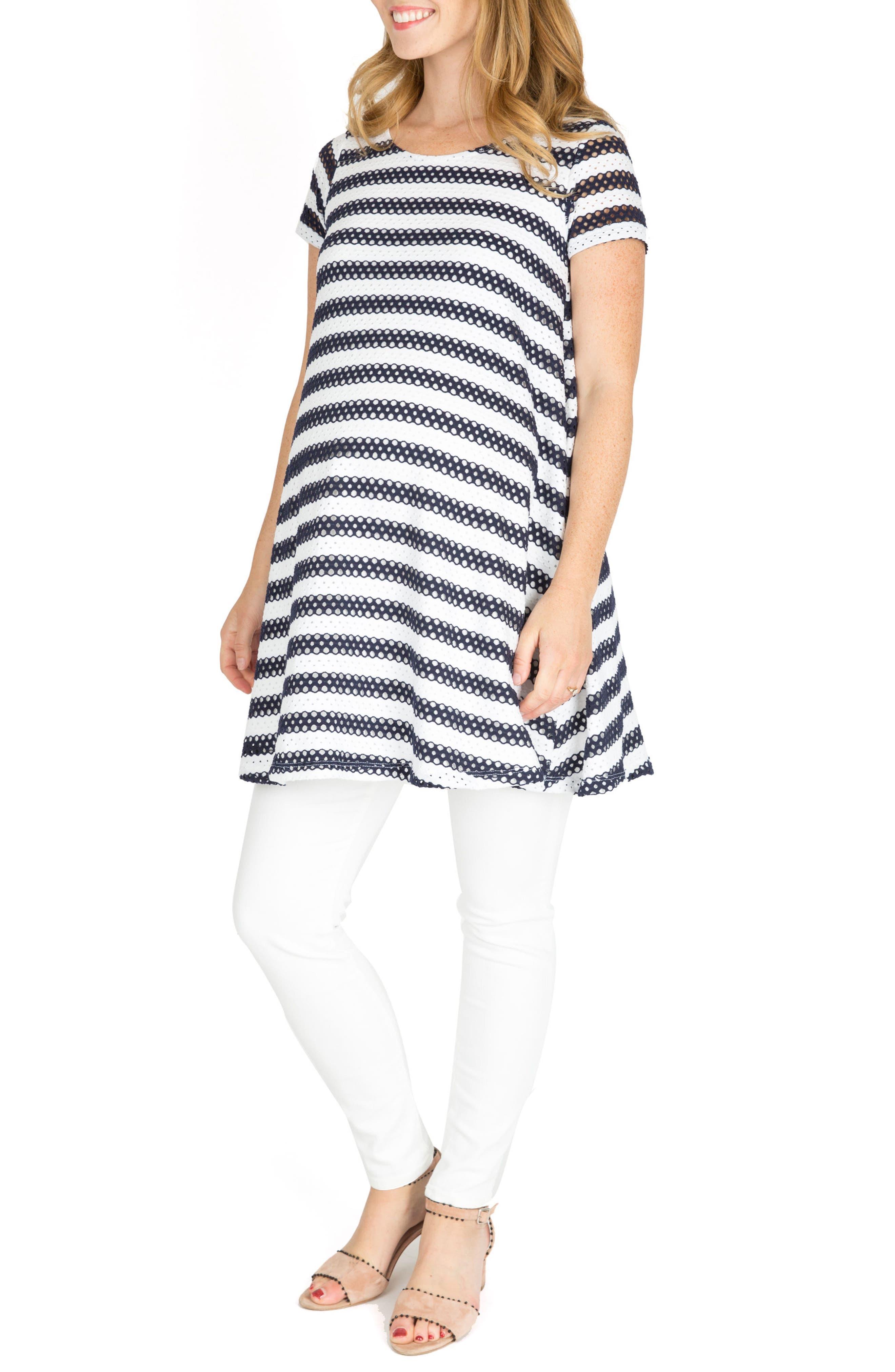 Cha Cha Print Maternity Shift Dress,                         Main,                         color, Navy Stripe
