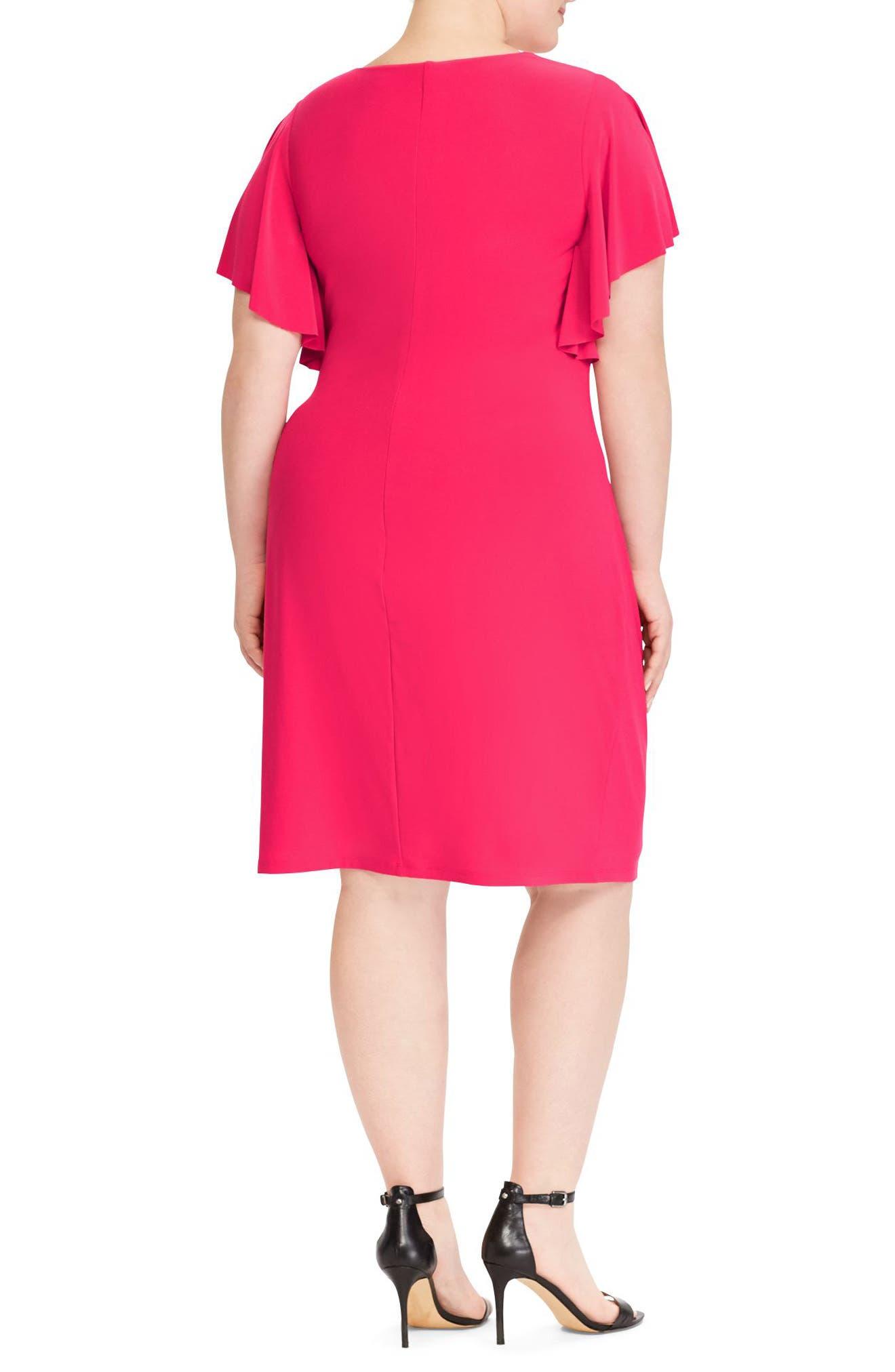 Alternate Image 2  - Lauren Ralph Lauren Flutter Sleeve Jersey Dress (Plus Size)