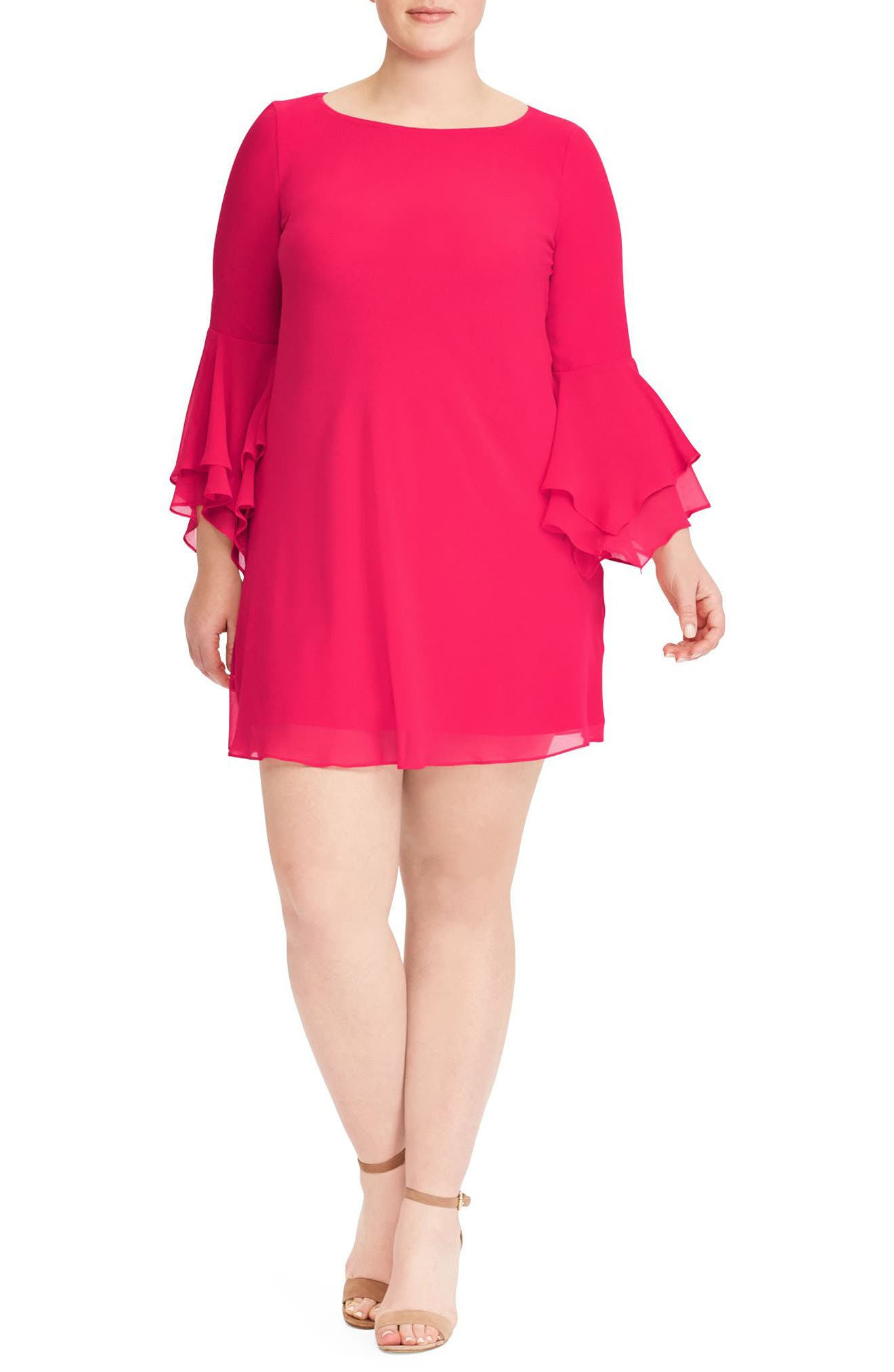Bell Sleeve A-Line Dress,                         Main,                         color, Pink Poppy
