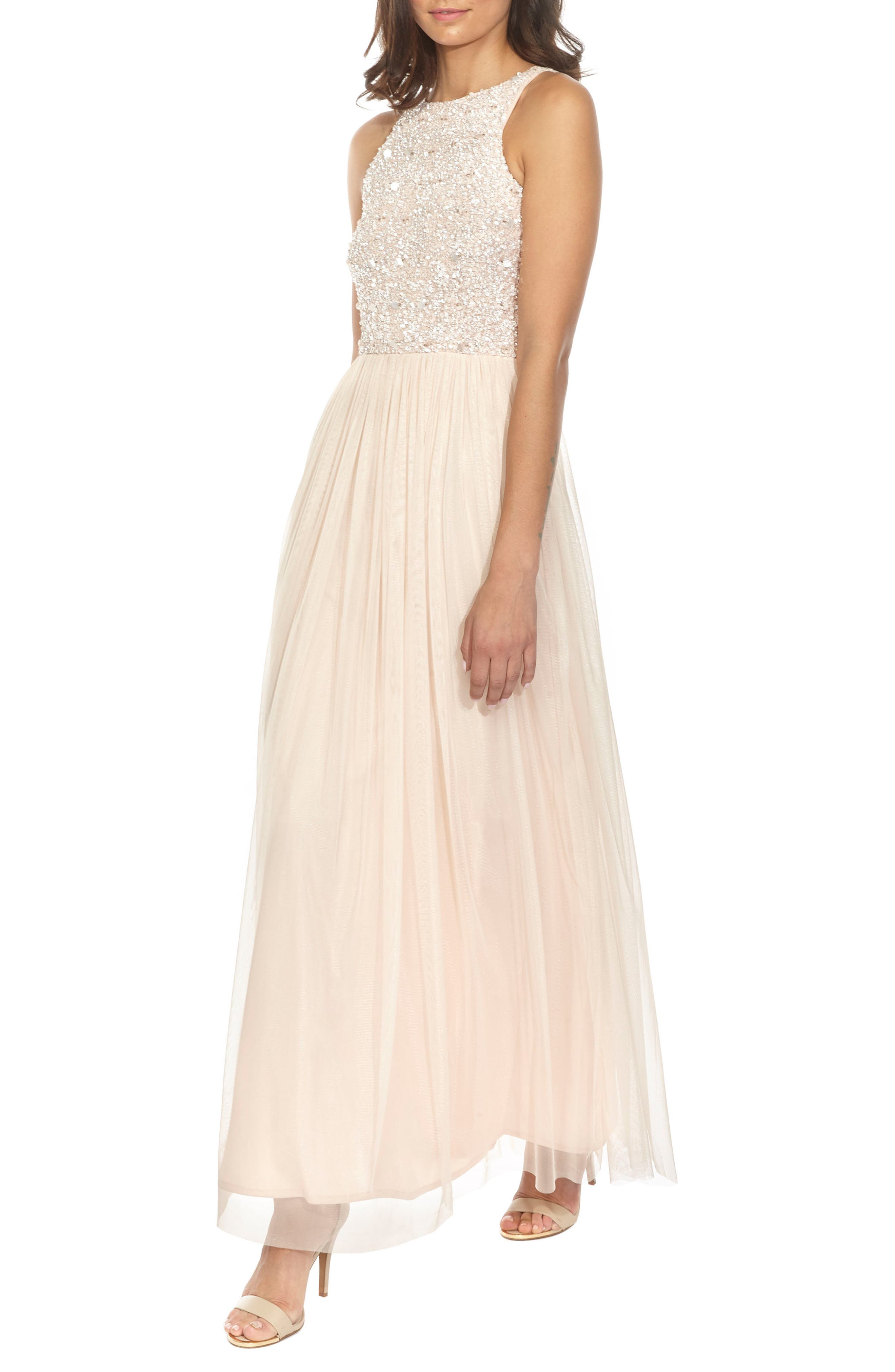 Picasso Embellished Bodice Maxi Dress,                             Alternate thumbnail 4, color,                             Nude