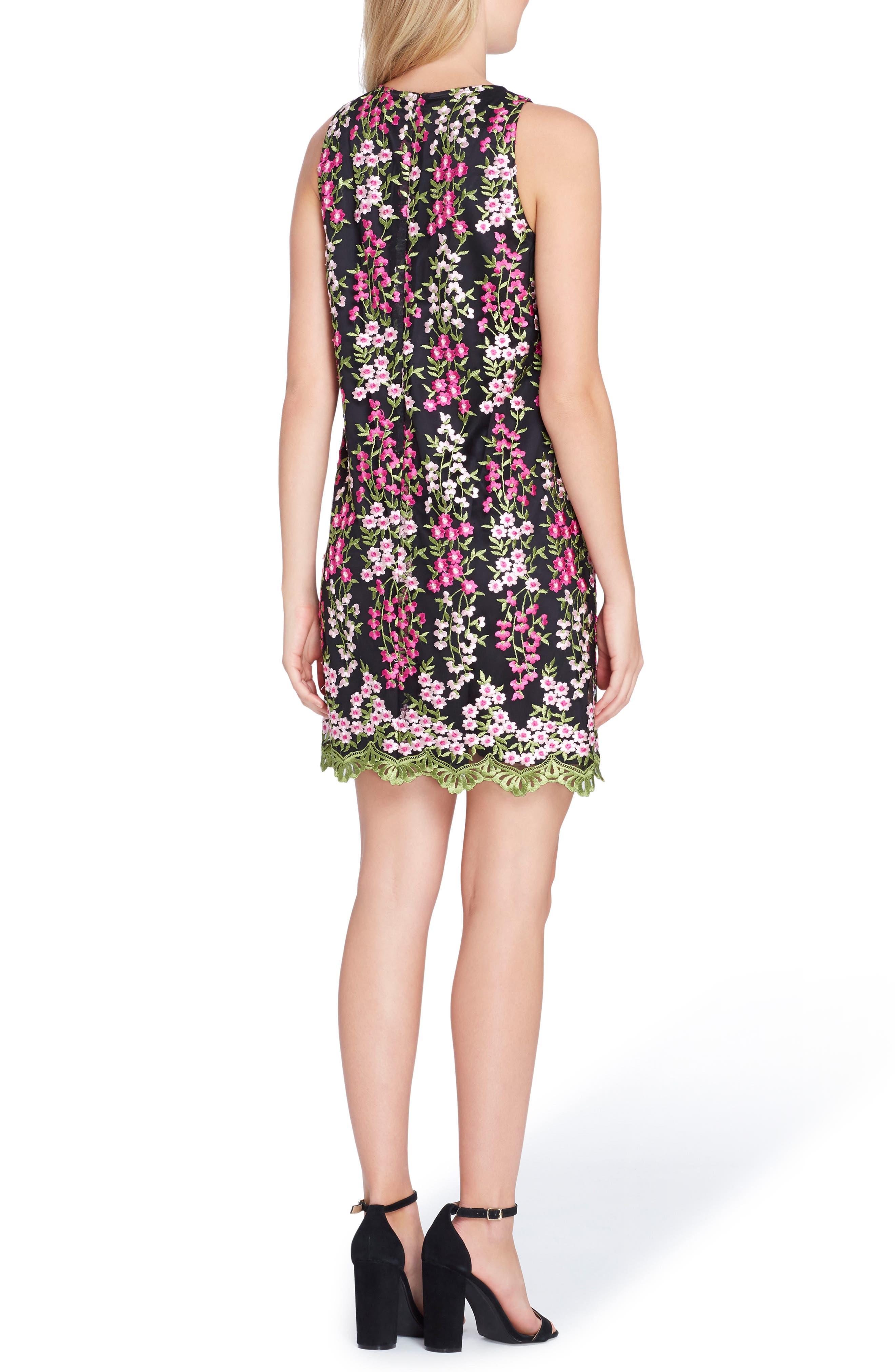 Embroidered Floral Shift Dress,                             Alternate thumbnail 2, color,                             Black/ Magenta/ Blush