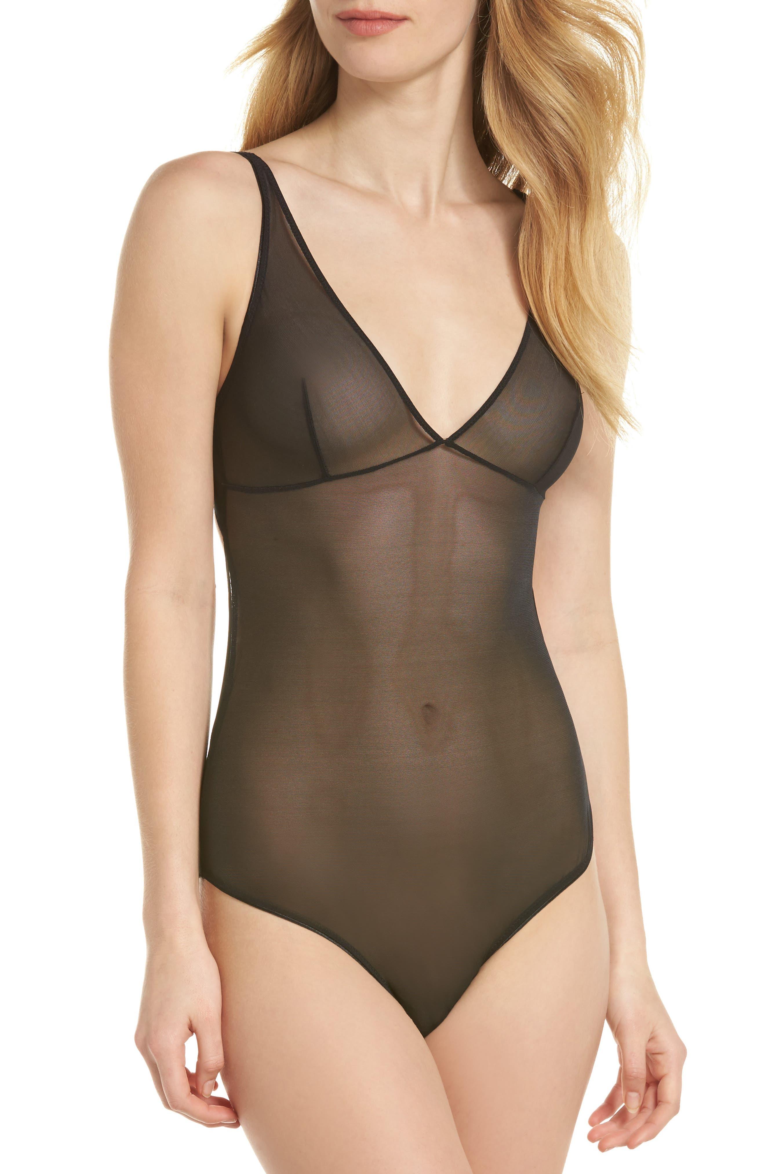 Mesh Bodysuit,                         Main,                         color, Black
