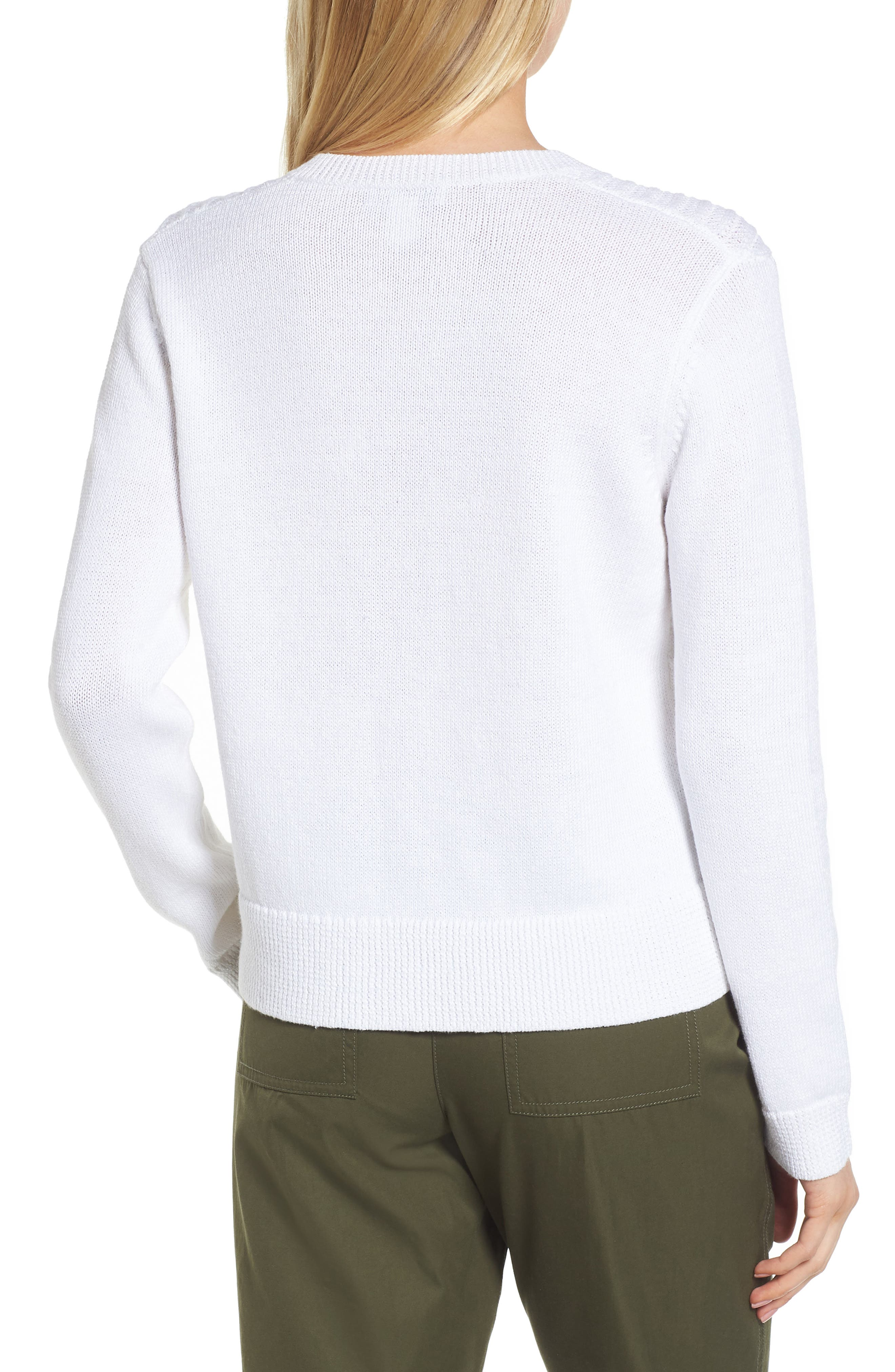 Textured Front V-Neck Sweater,                             Alternate thumbnail 2, color,                             White