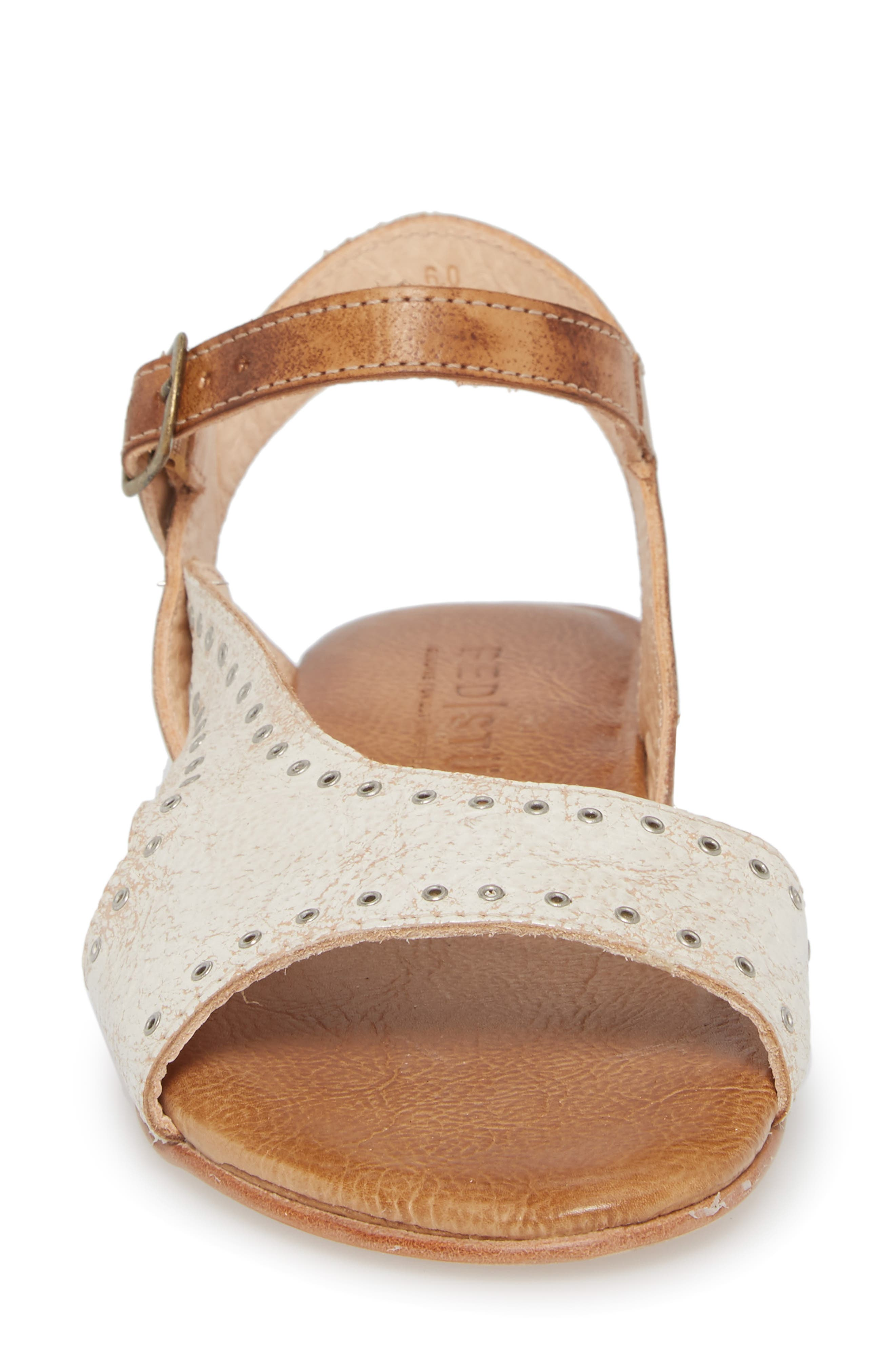 Auburn Flat Sandal,                             Alternate thumbnail 4, color,                             Nectar/ Tan Leather