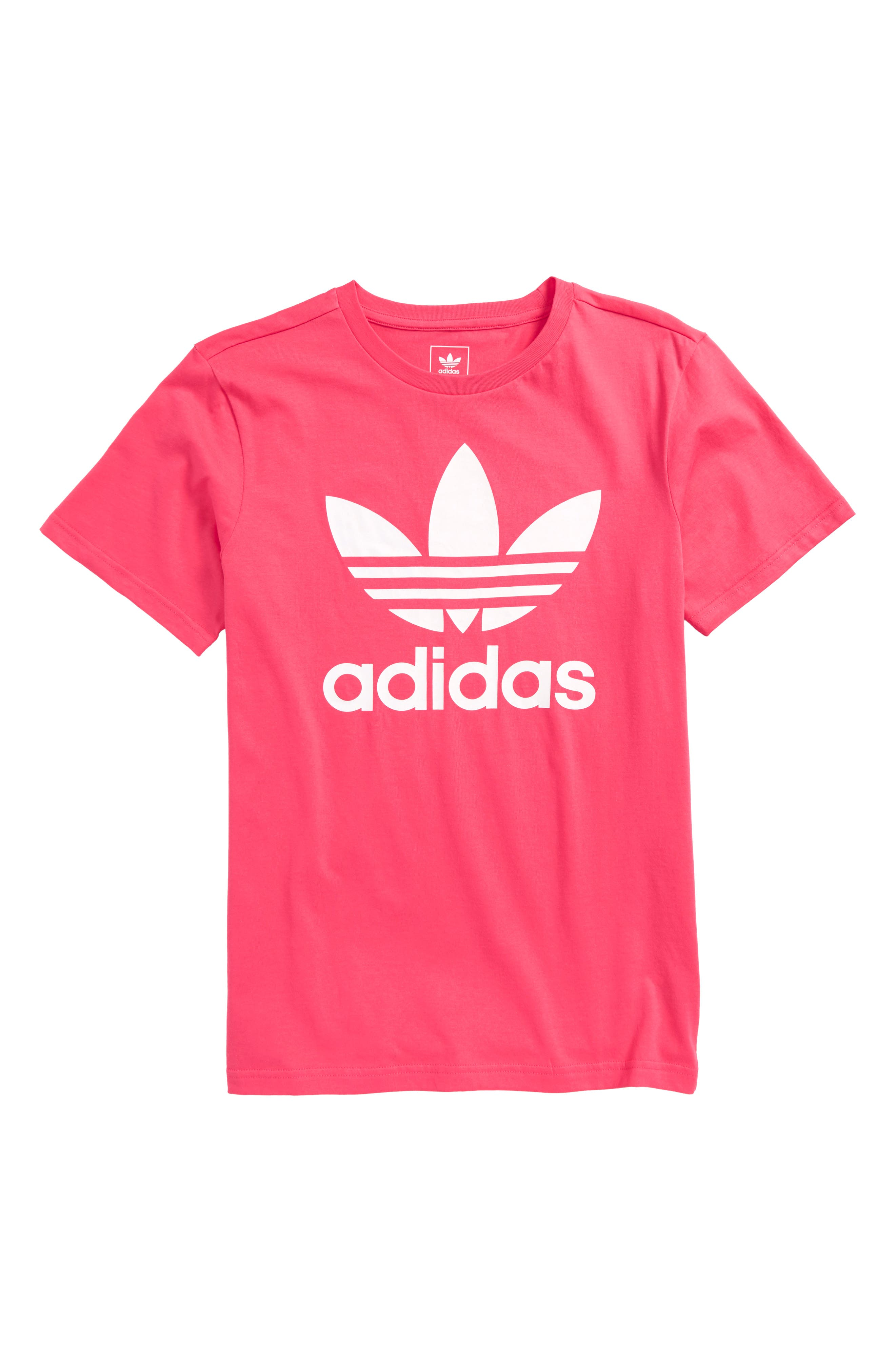 adidas Trefoil Tee,                             Main thumbnail 1, color,                             Real Pink / White