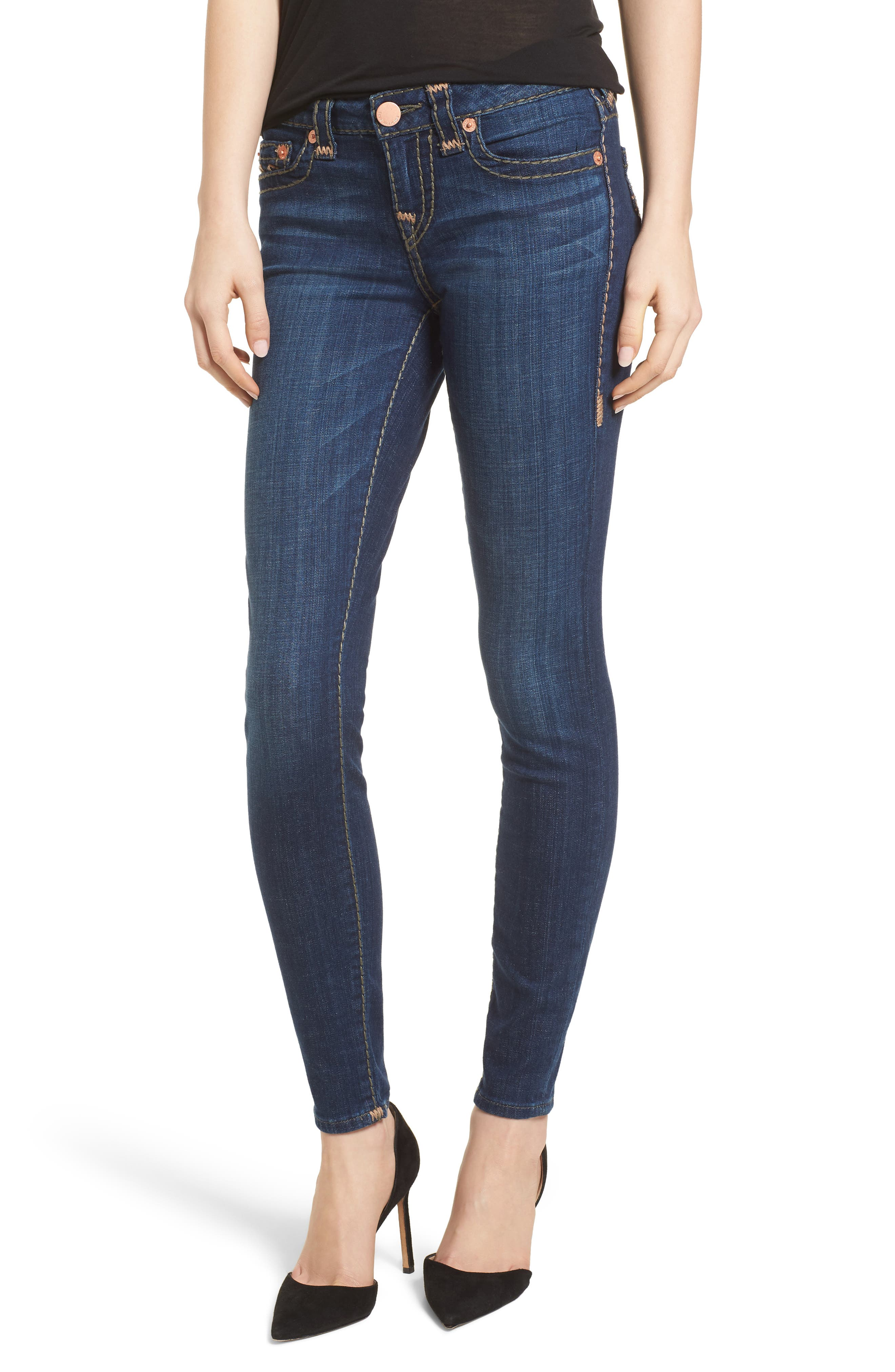 Main Image - True Religion Brand Jeans Halle Skinny Jeans (Navy Cadet)