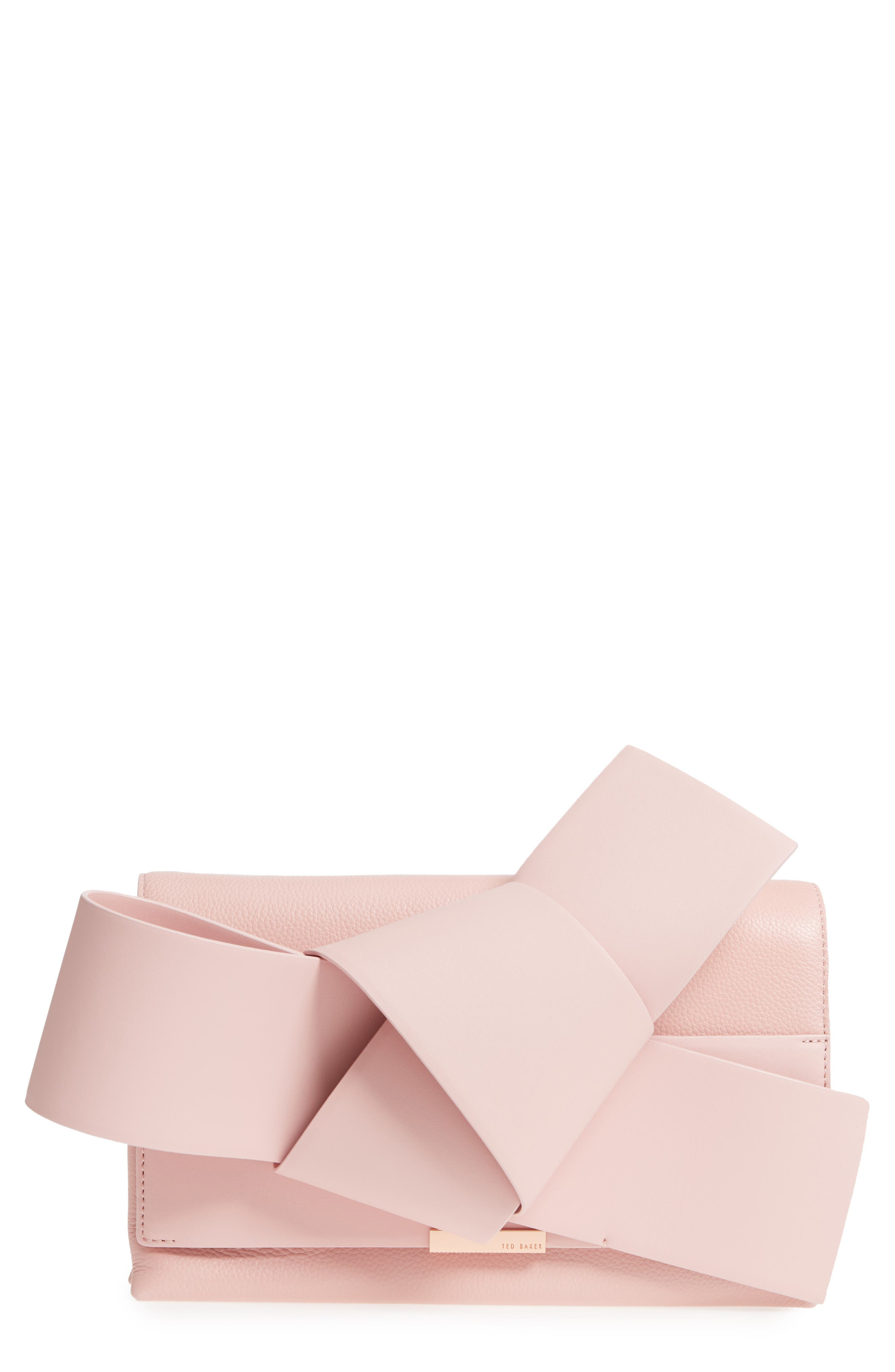 Knotted Bow Leather Clutch,                         Main,                         color, Light Pink