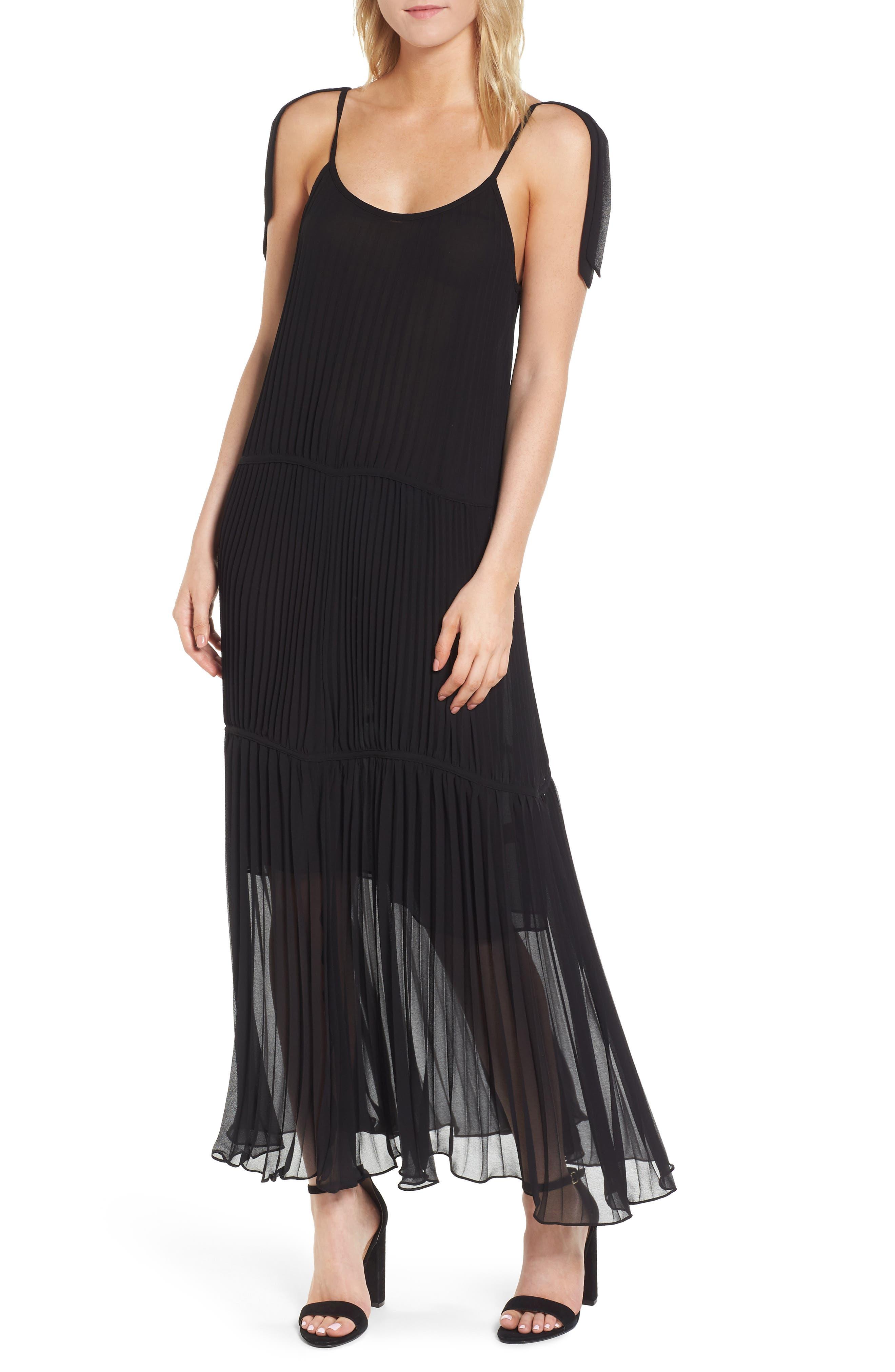 Chiffon Maxi Dress,                             Main thumbnail 1, color,                             Black