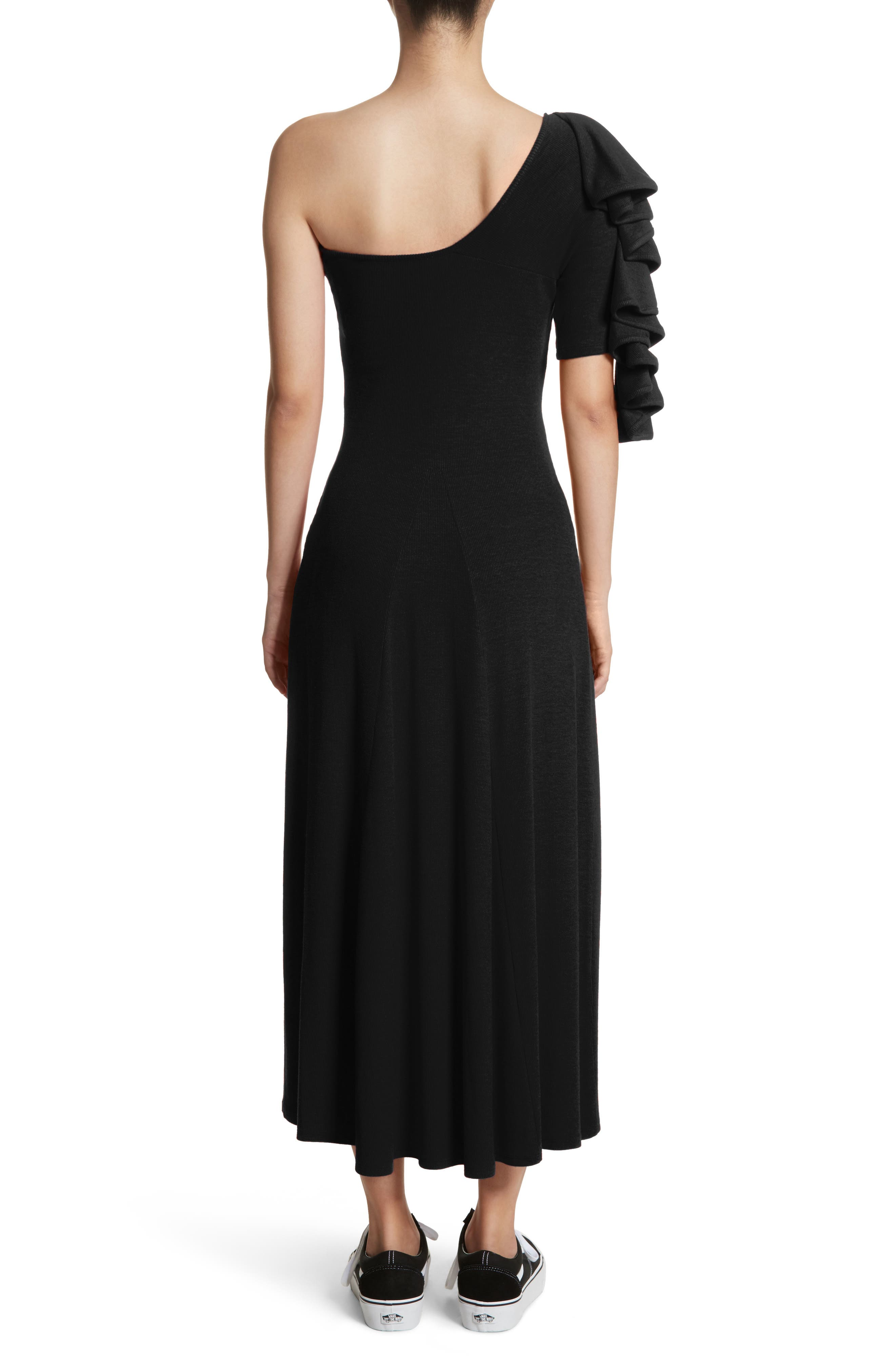 Dione One-Shoulder Dress,                             Alternate thumbnail 2, color,                             Black