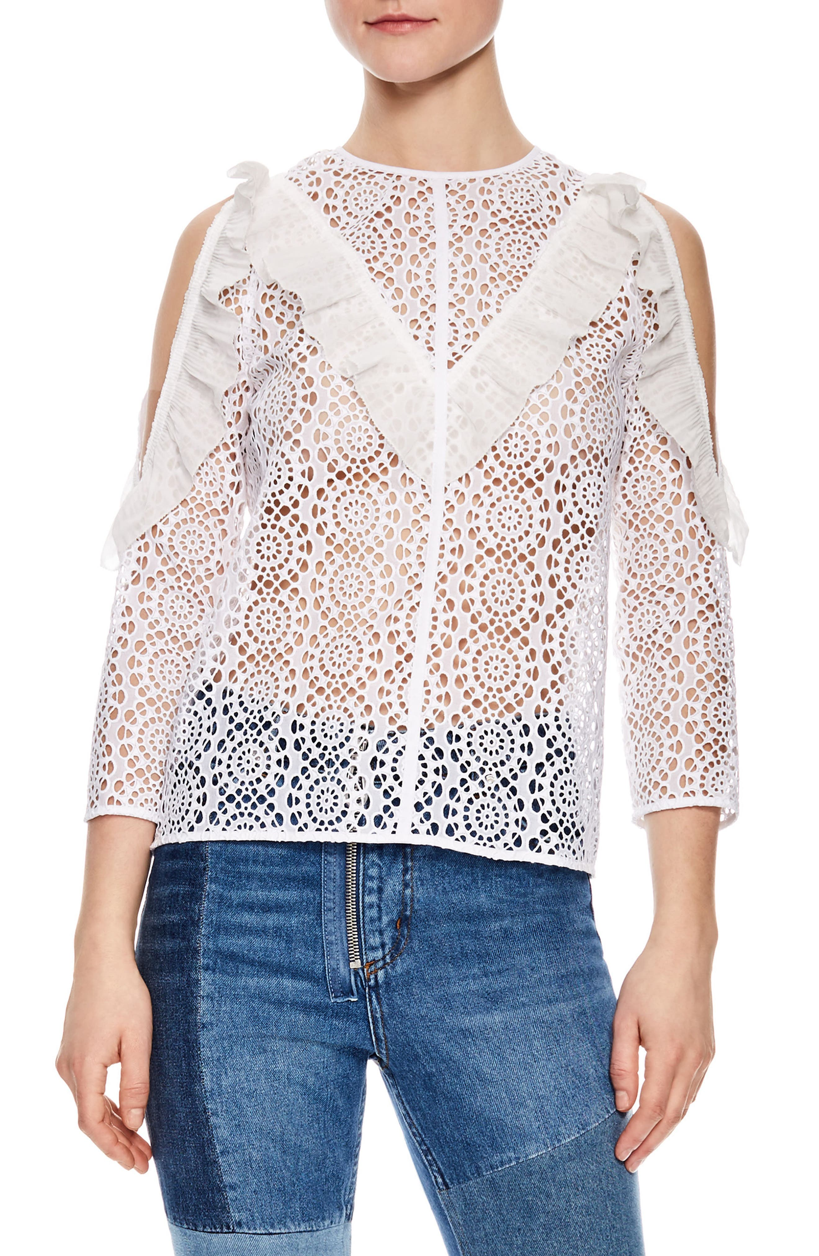 Sheer Lace Cold Shoulder Top,                         Main,                         color, White